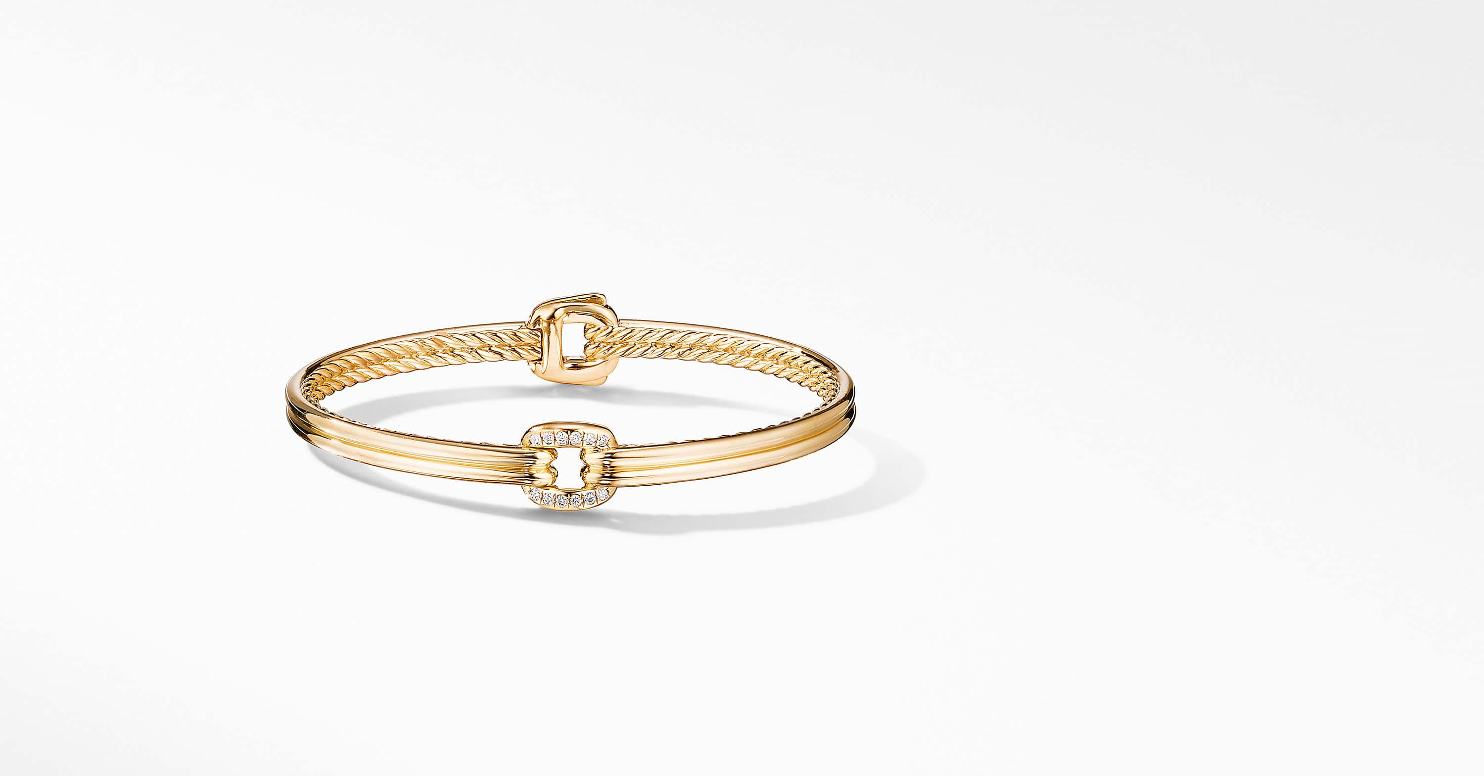 Thoroughbred Center Link Bracelet in 18K Yellow Gold with Diamonds