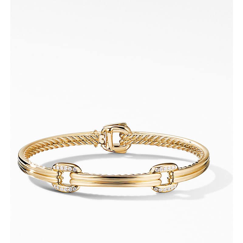 Thoroughbred Double Link Bracelet in 18K Yellow Gold with Diamonds