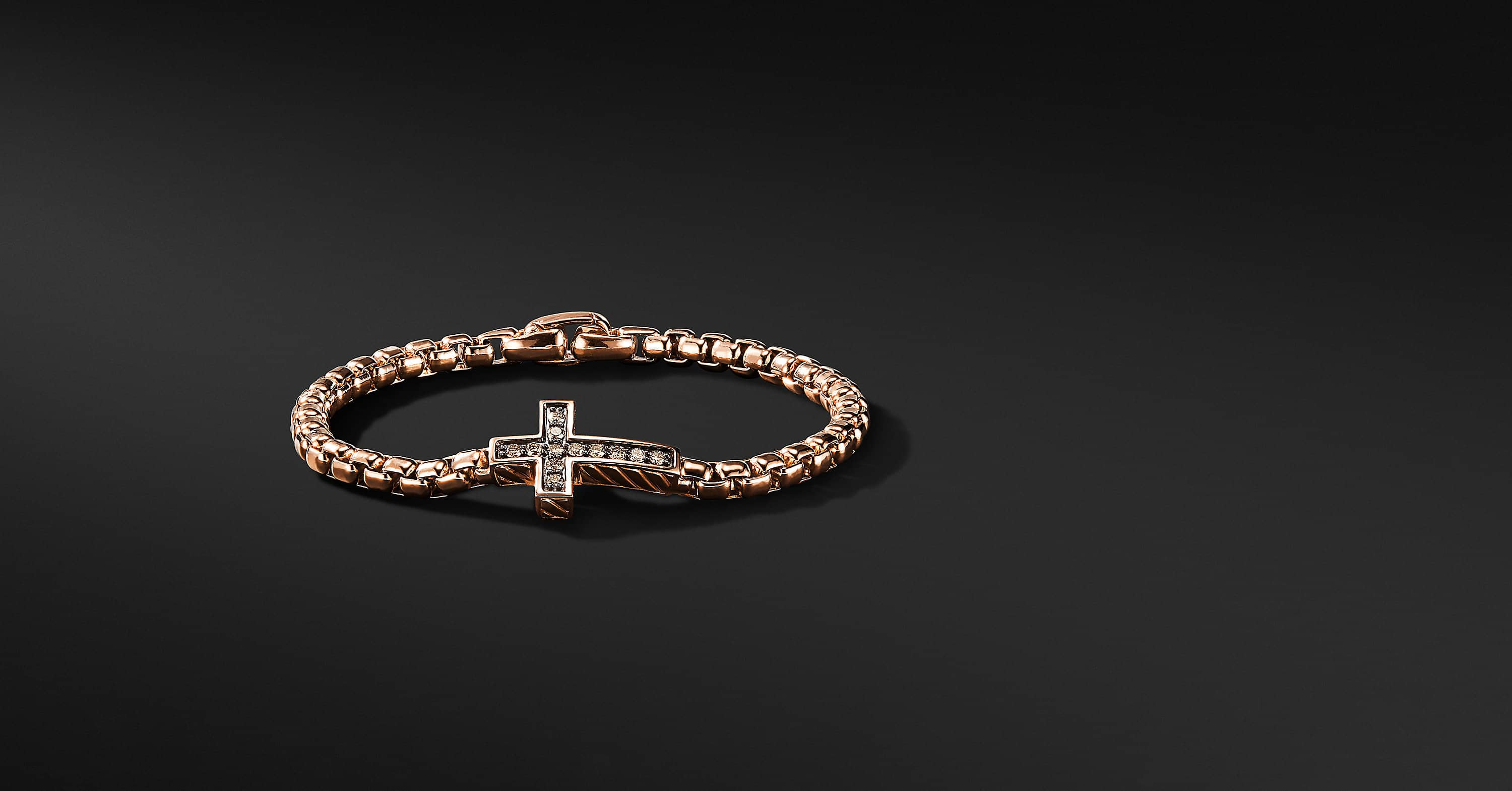 Pavé Cross Bracelet with Diamonds in 18K Rose Gold