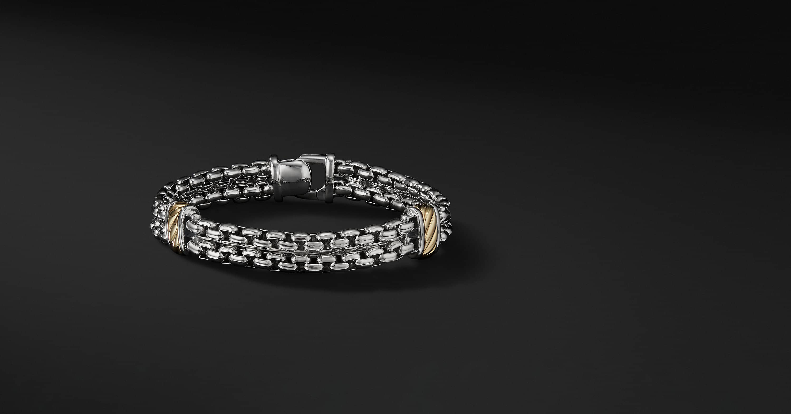 Cable Classic Collection Two-row Chain Bracelet with 18K Yellow Gold