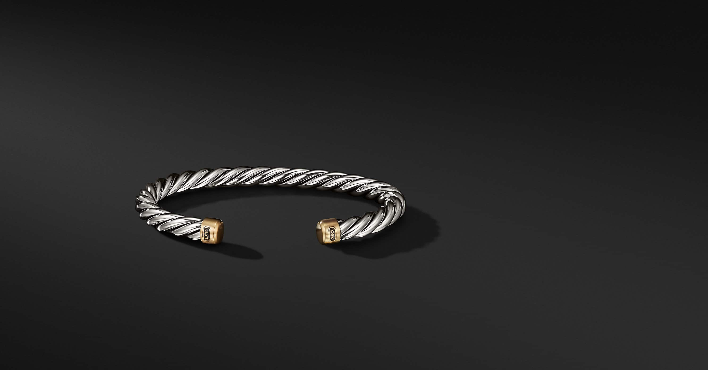 Cable Classic Collection Cuff Bracelet with 18K Yellow Gold