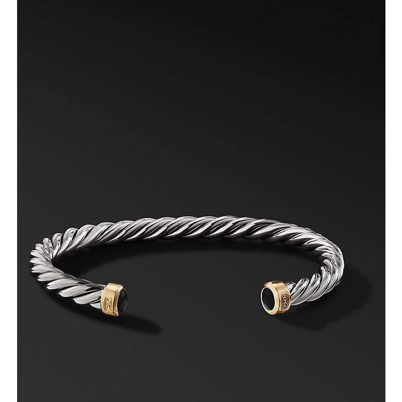 Cable Cuff Bracelet with 18K Yellow Gold, 6mm