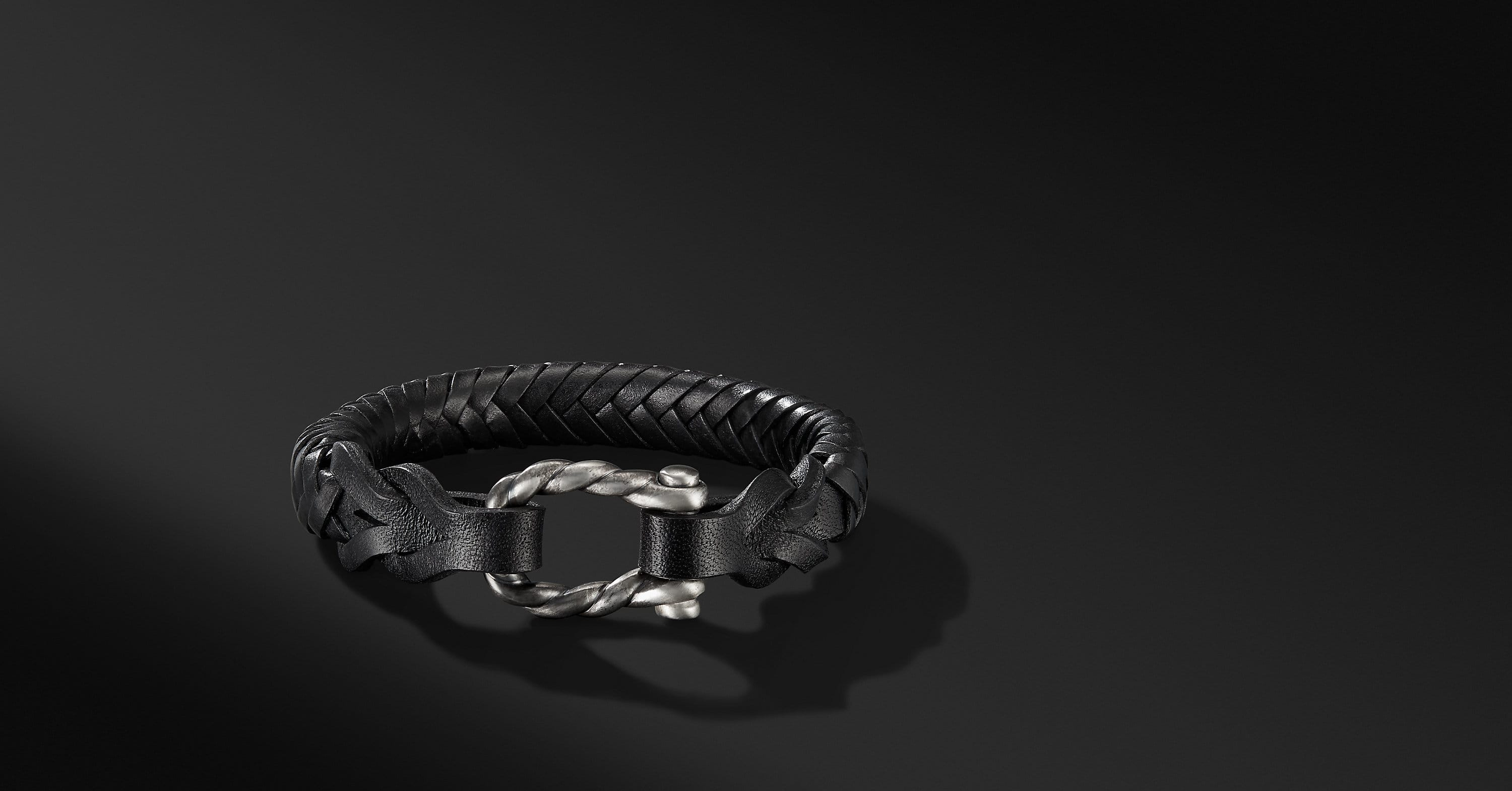 Maritime Leather Woven Shackle Bracelet