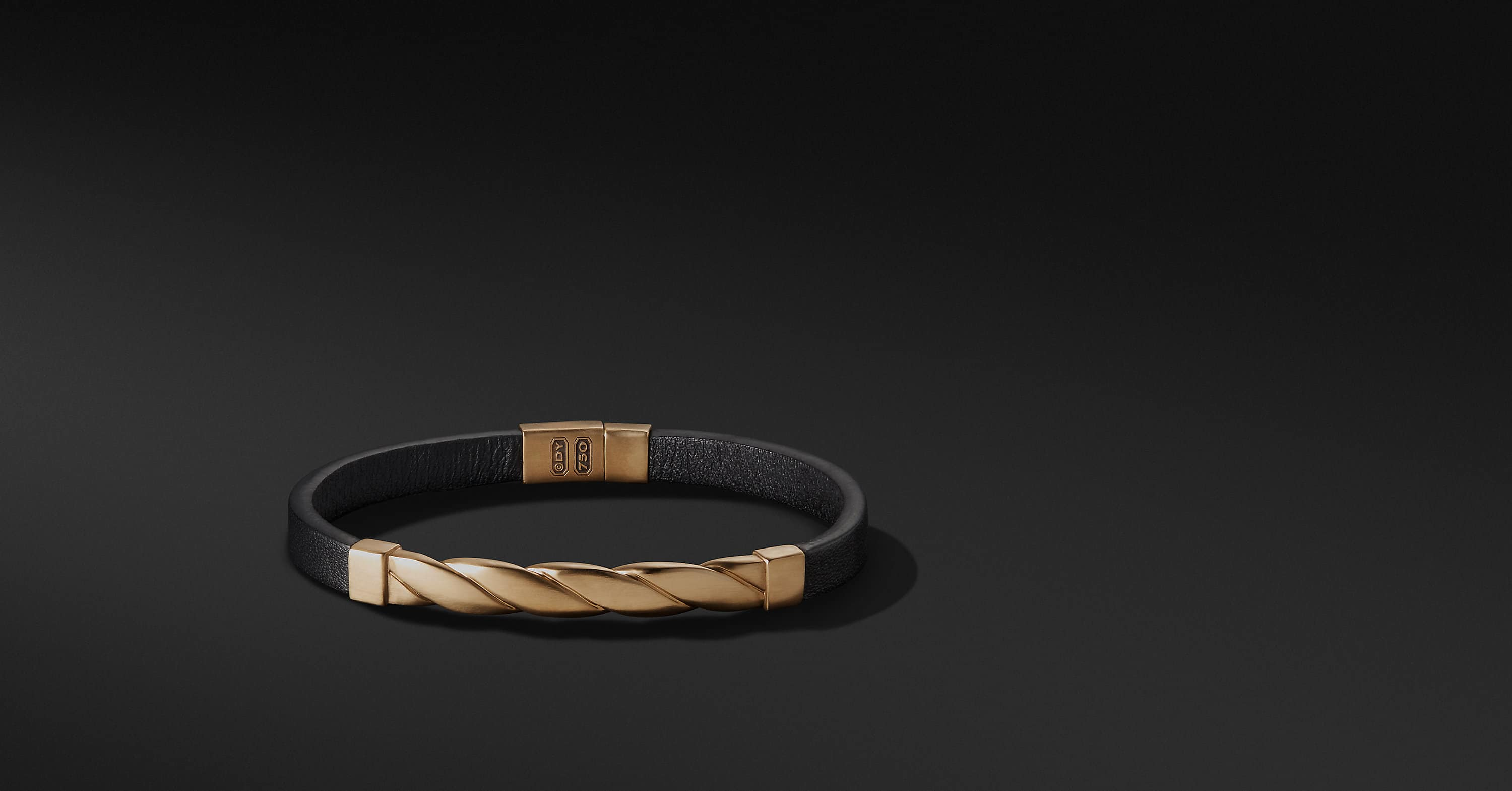 Cable Classics Leather ID Bracelet with 18K Gold
