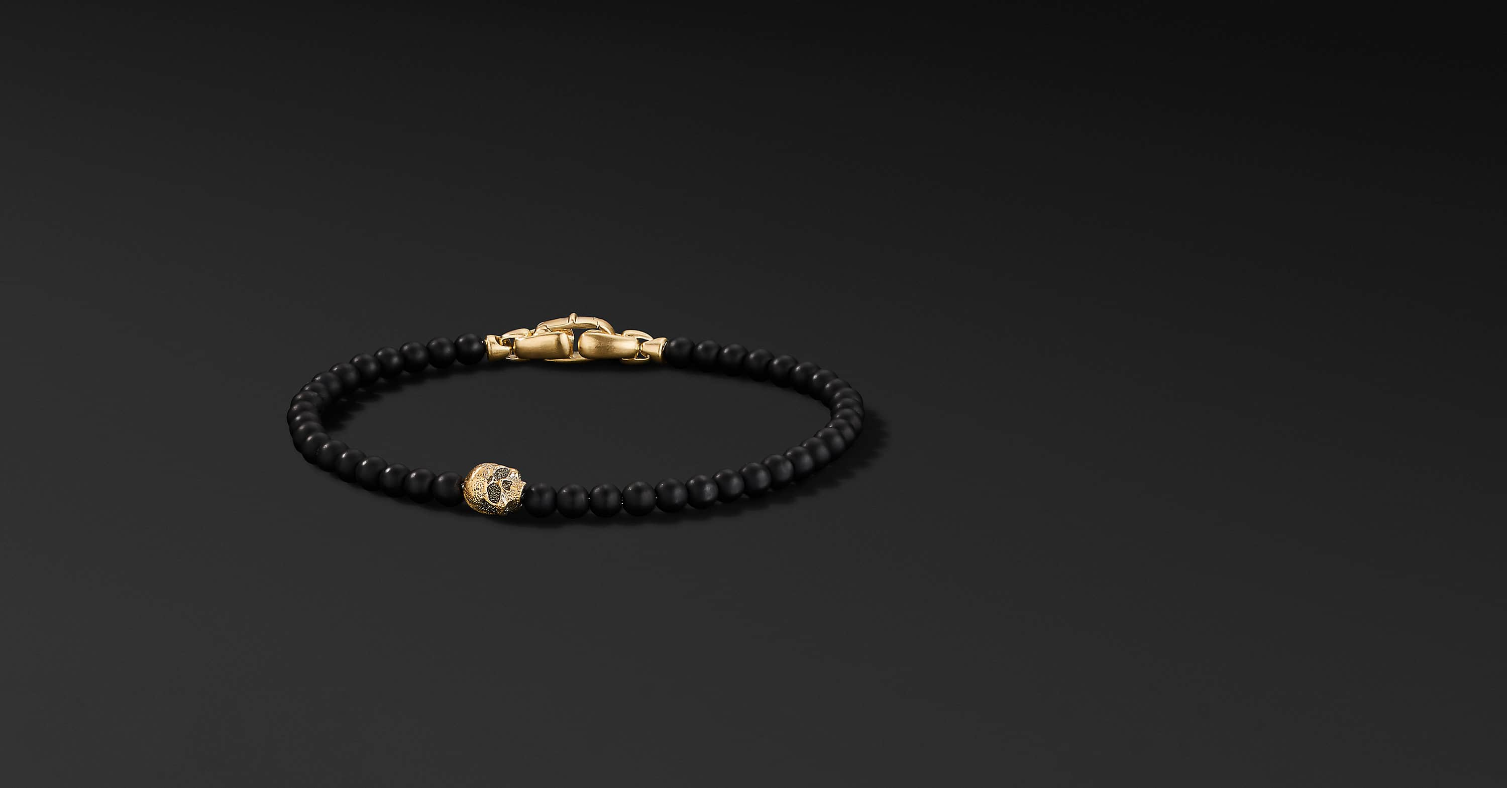 Spiritual Beads Skull Bracelet with 18K Yellow Gold