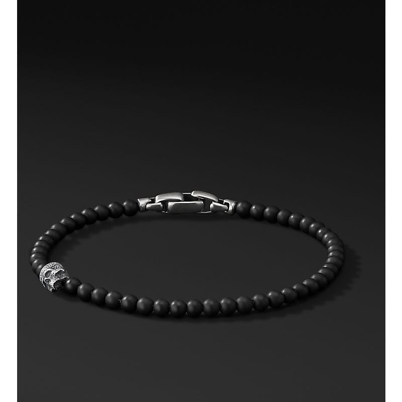 Spiritual Beads Bracelet with Skull Accent, 4mm