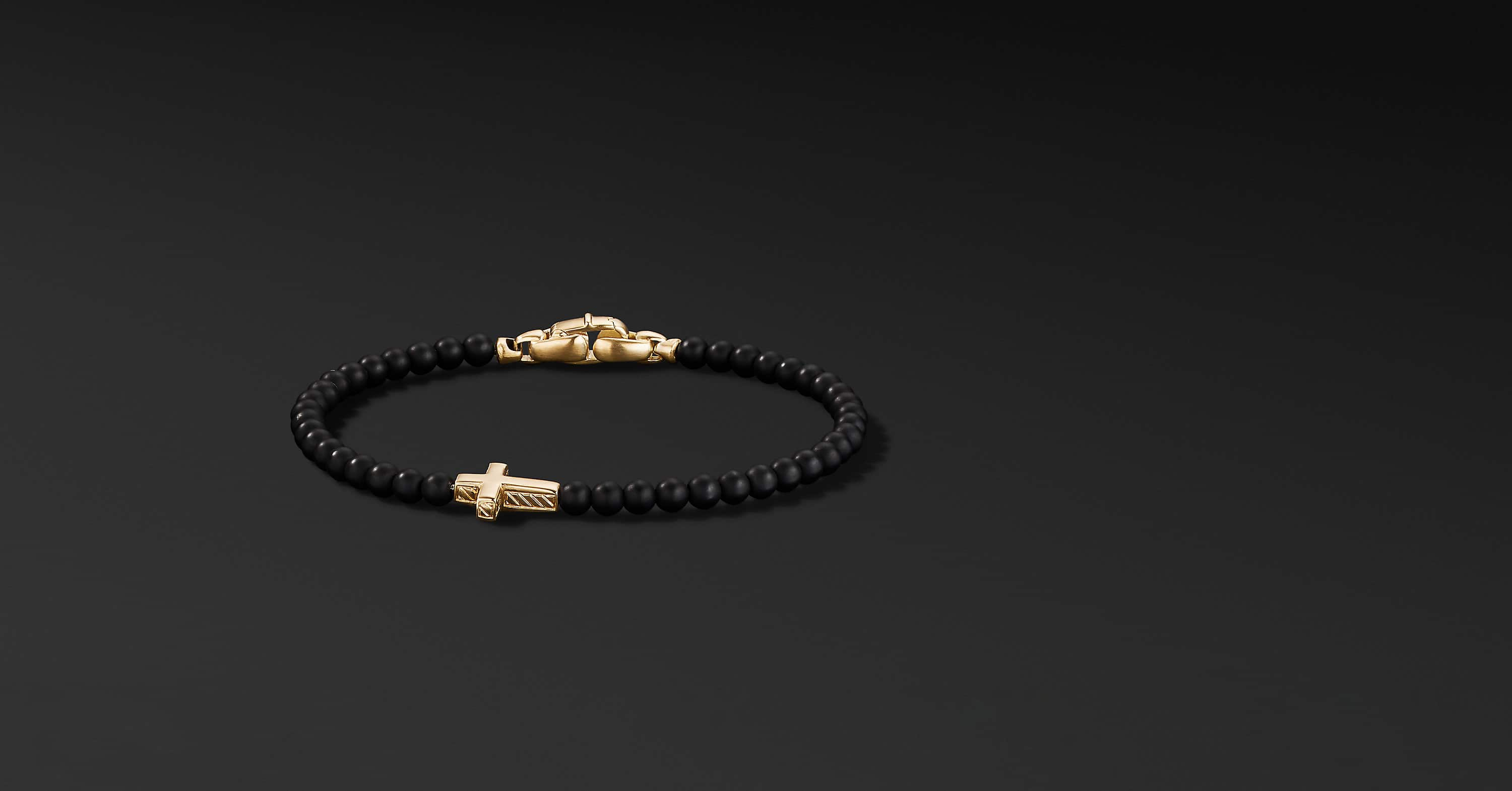 Spiritual Beads Cross Station Bracelet with 18K Yellow Gold