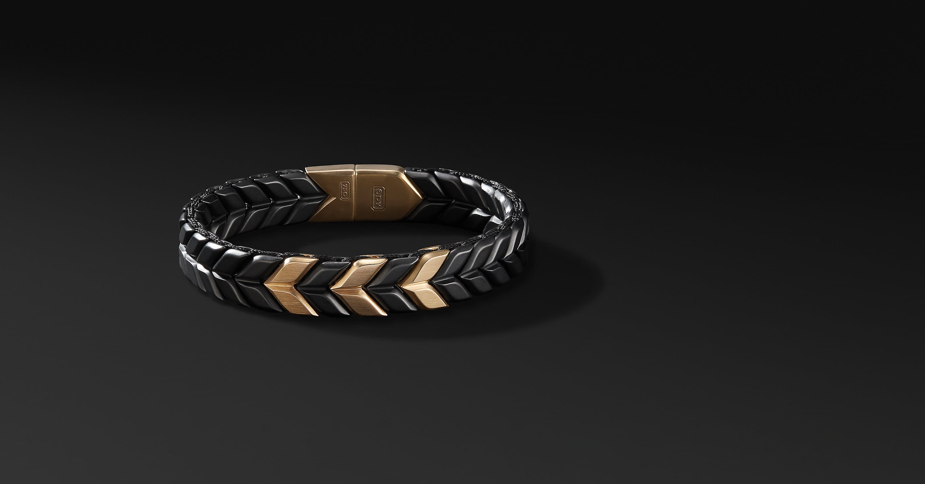 Chevron Woven Bracelet in Black Titanium and 18K Gold, 12mm
