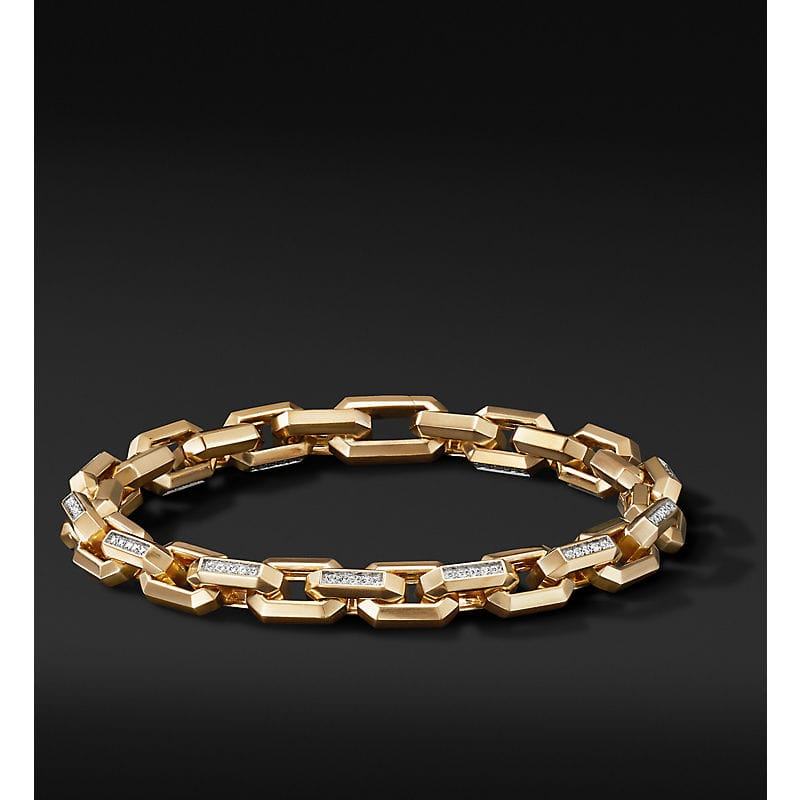 Heirloom Chain Link Bracelet in 18K Yellow Gold with Pavé, 7.5mm