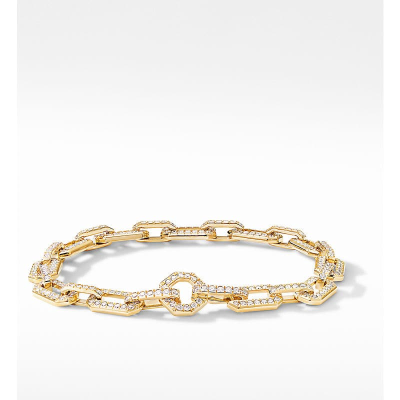 Starburst Chain Bracelet in 18K Yellow Gold with Pavé
