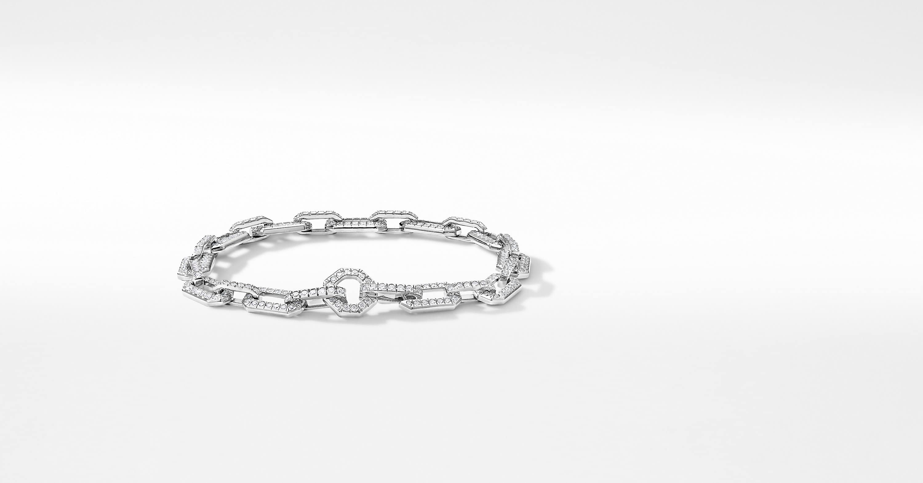 Starburst Chain Bracelet in 18K White Gold with Pavé