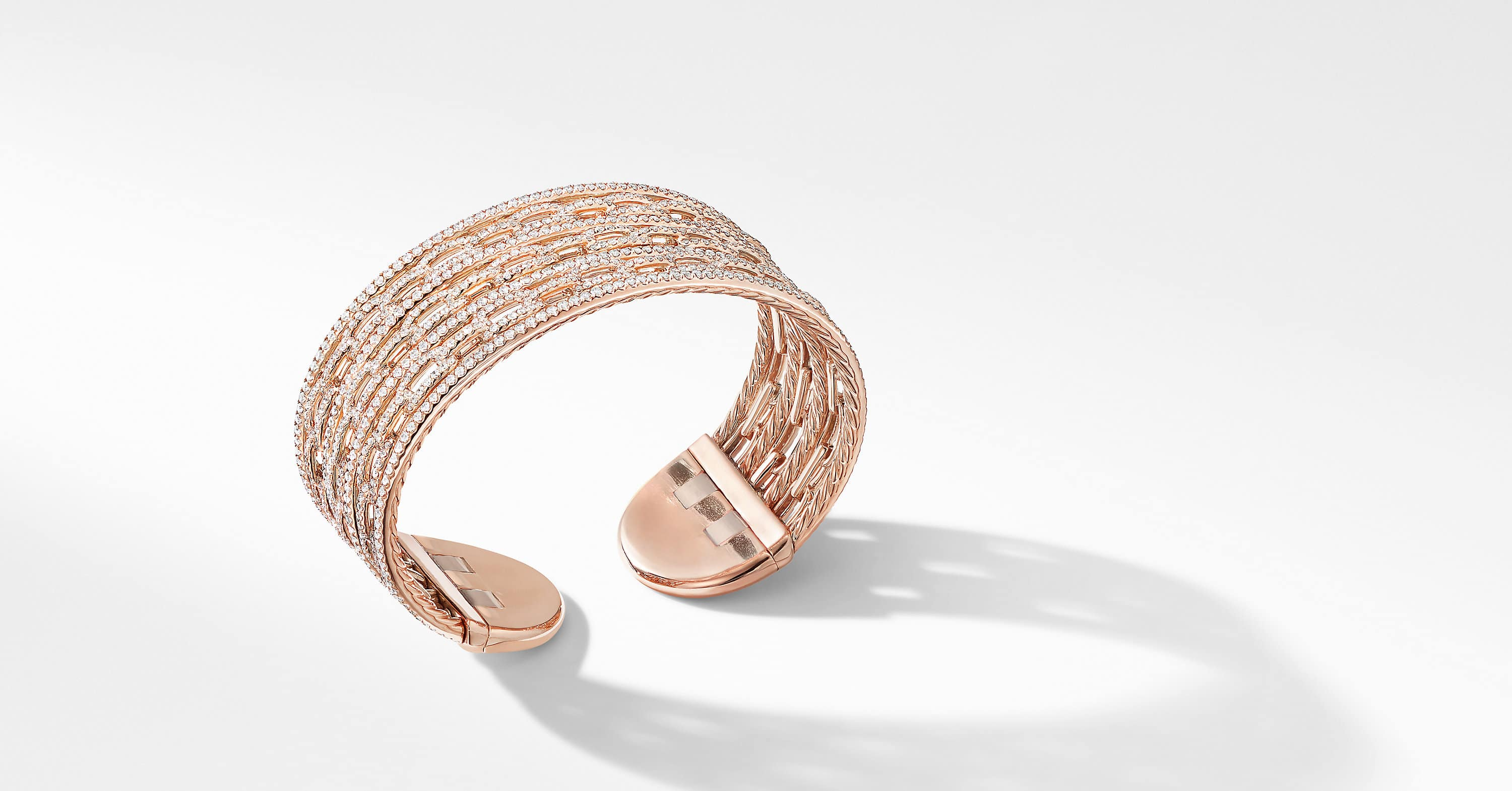 Stax Cuff Bracelet in 18K Rose Gold with Pavé
