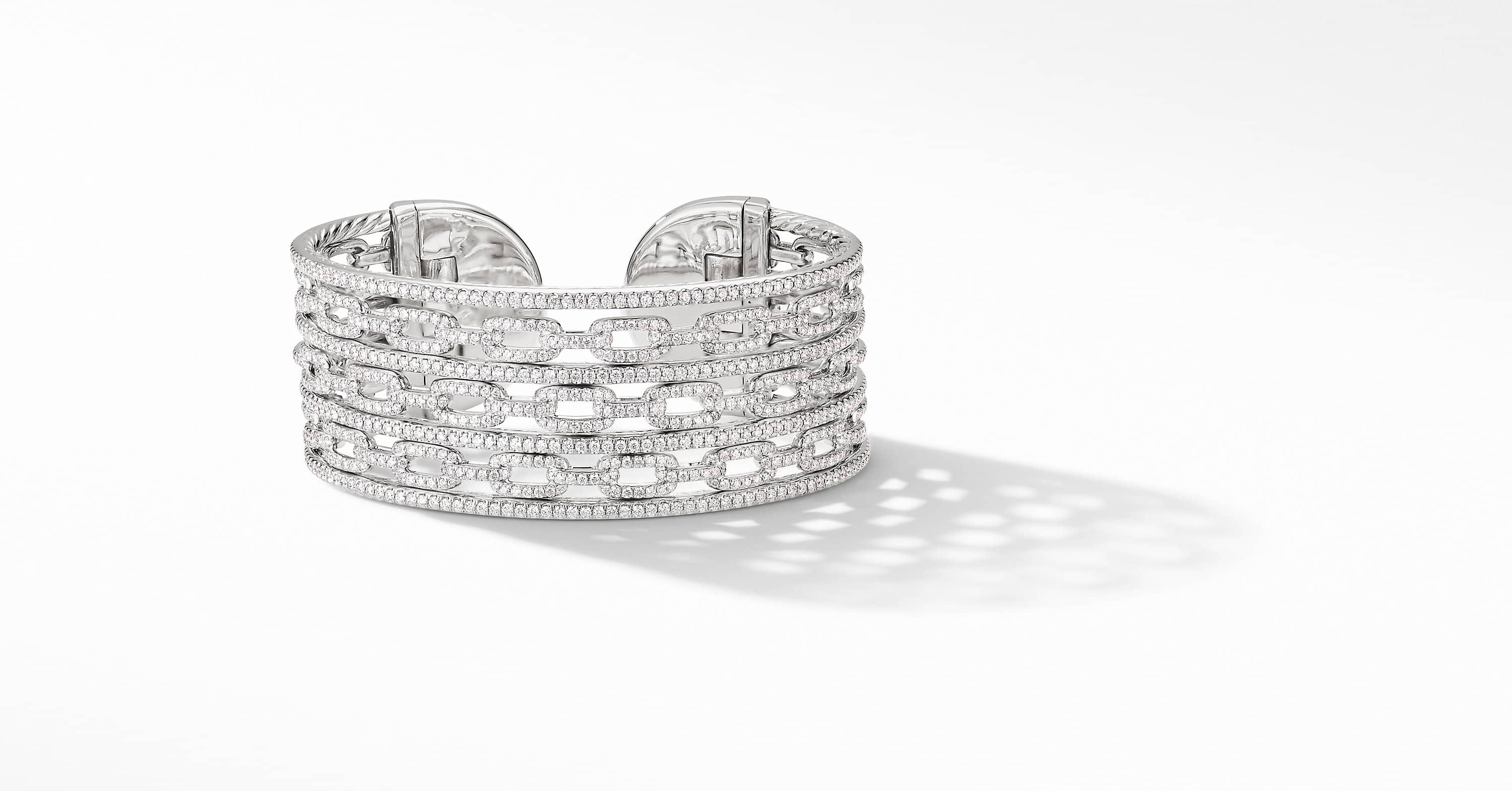 Stax Cuff Bracelet in 18K White Gold with Diamonds