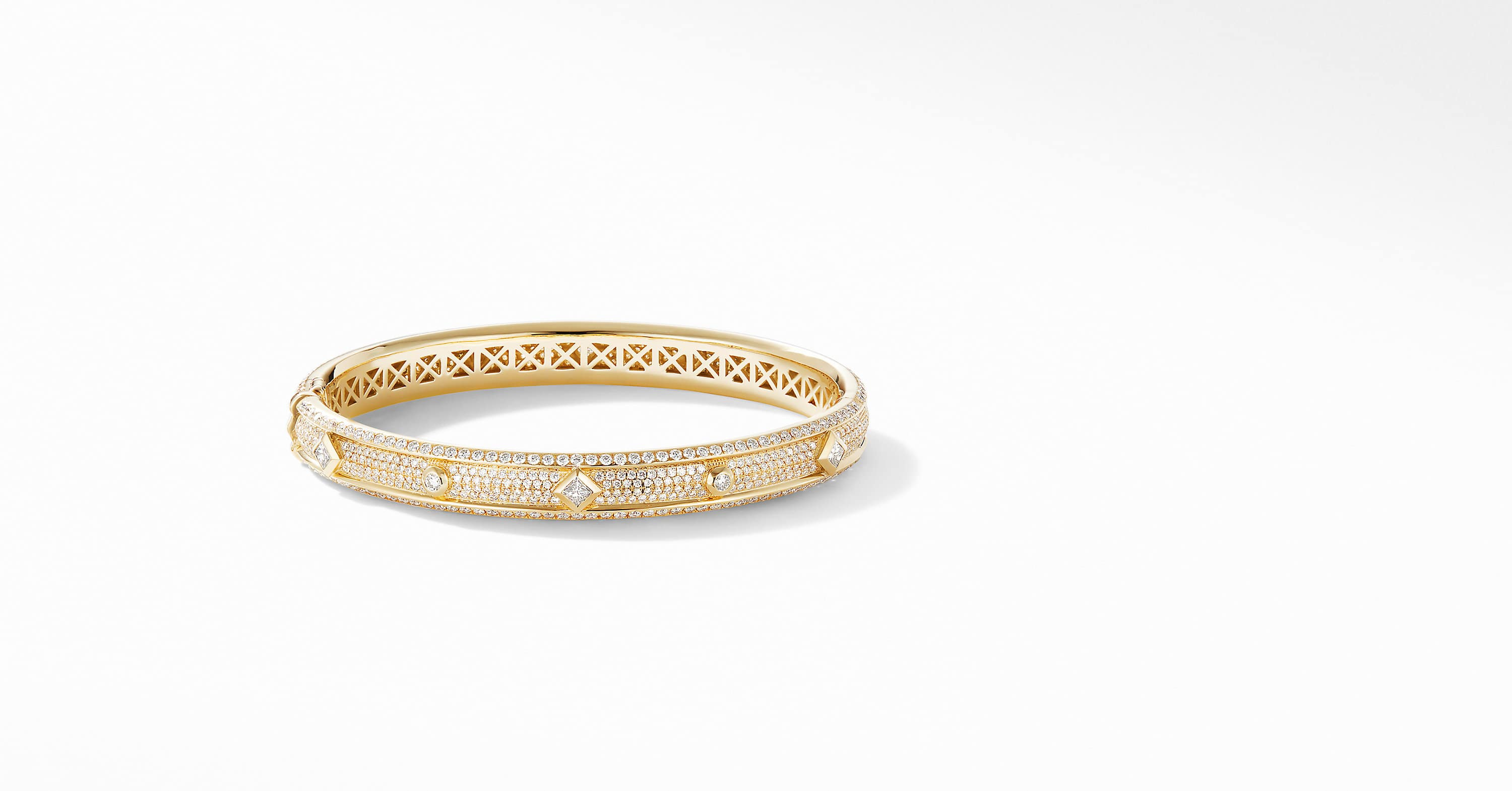 Modern Renaissance Narrow Bracelet in 18K Yellow Gold with Pavé
