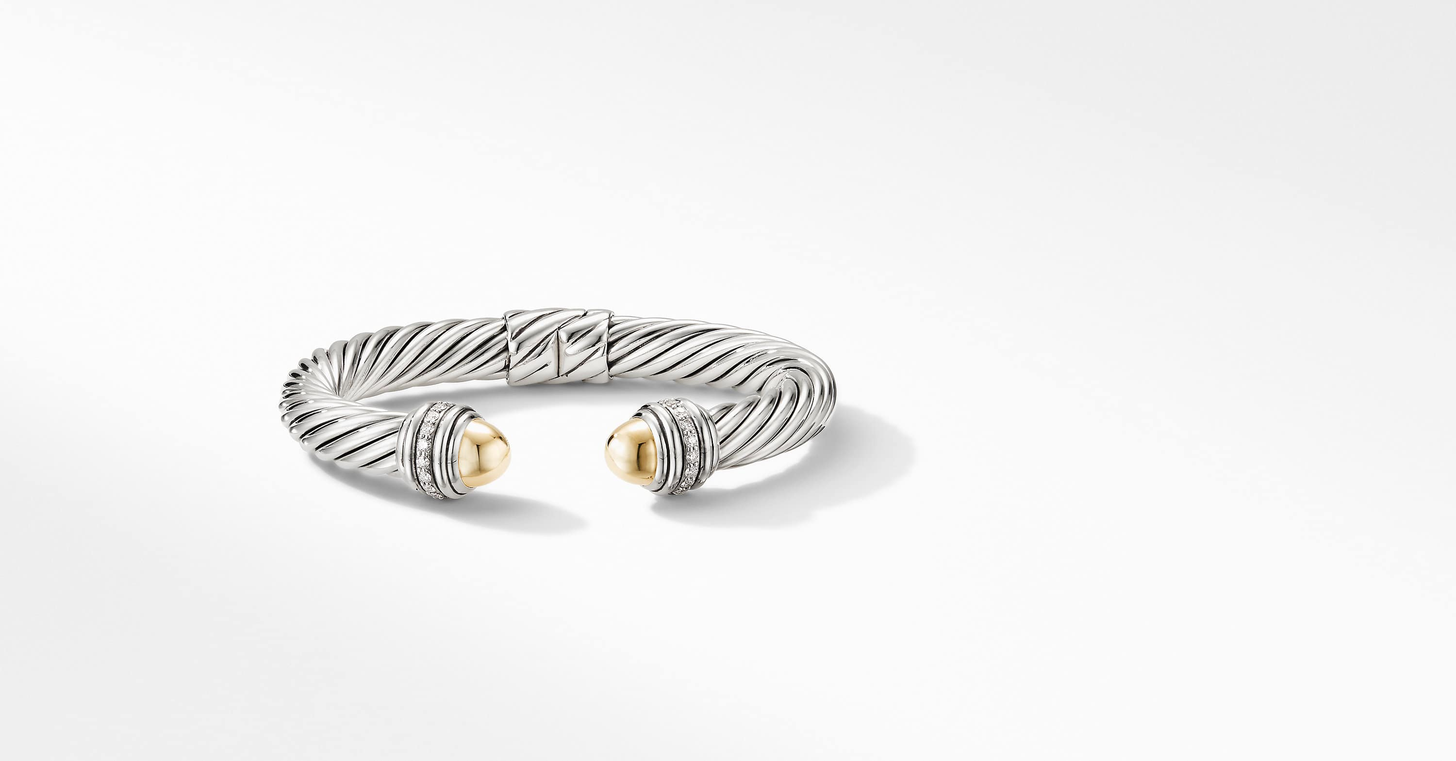 Cable Bracelet with 18K Yellow Gold and Diamonds, 9mm