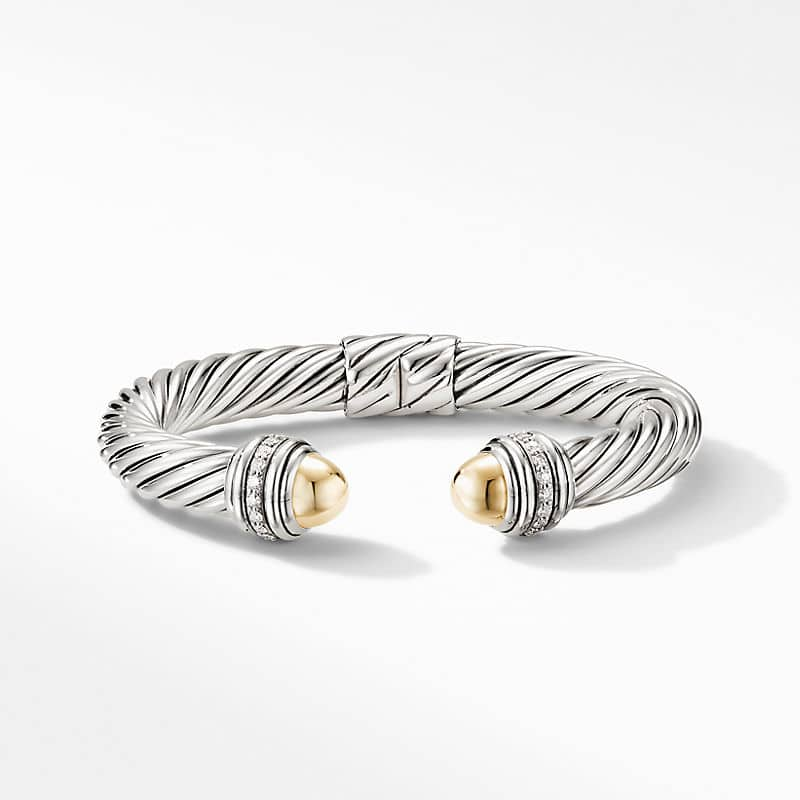 Cable Bracelet with 18K Yellow Gold Domes and
