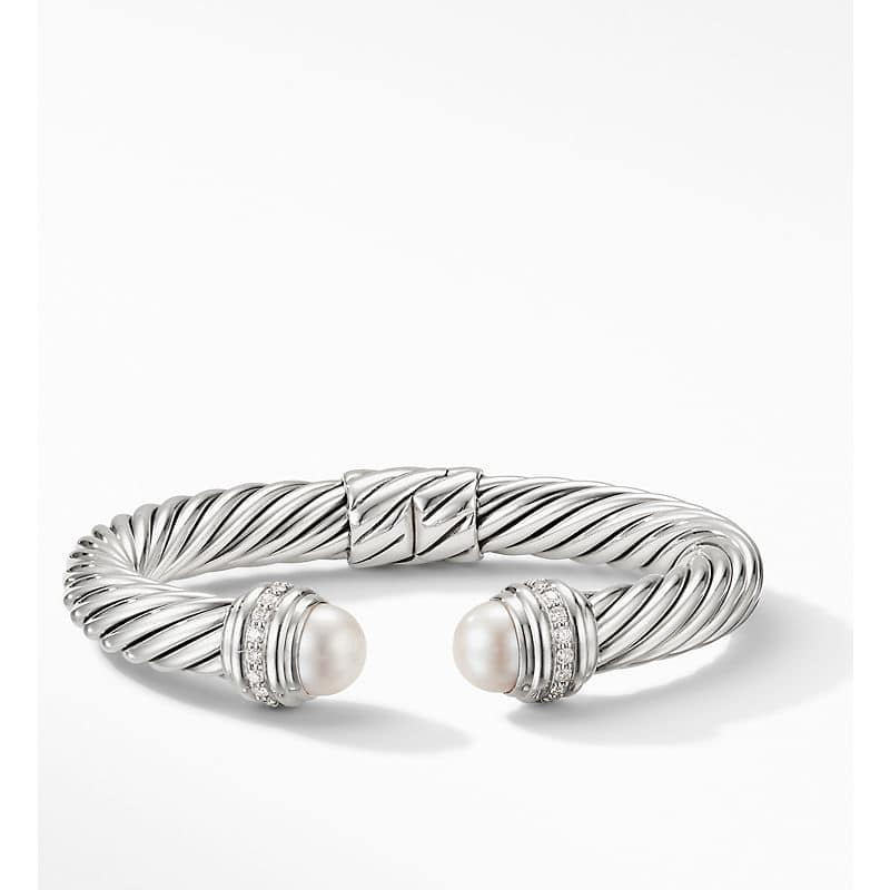 Cable Bracelet with Diamonds, 9mm