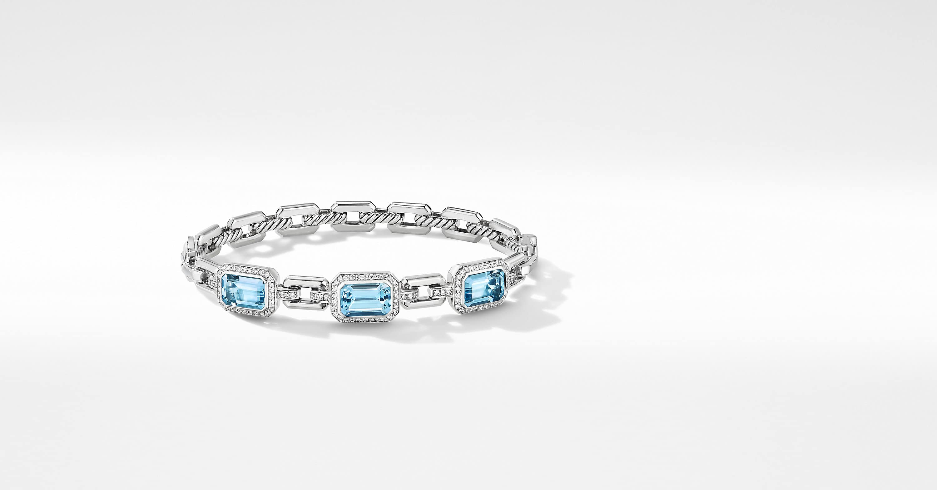Novella Three Stone Bracelet with Pavé