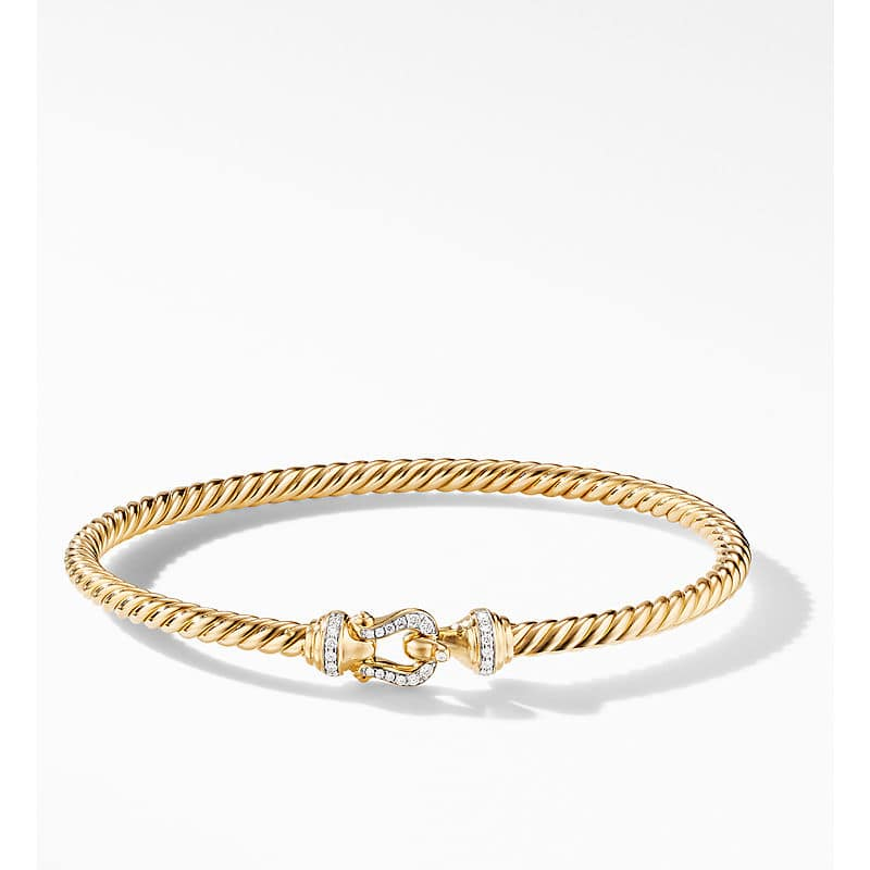 Cable Buckle Collection Bracelet in 18K Yellow Gold with Diamonds, 3.5mm