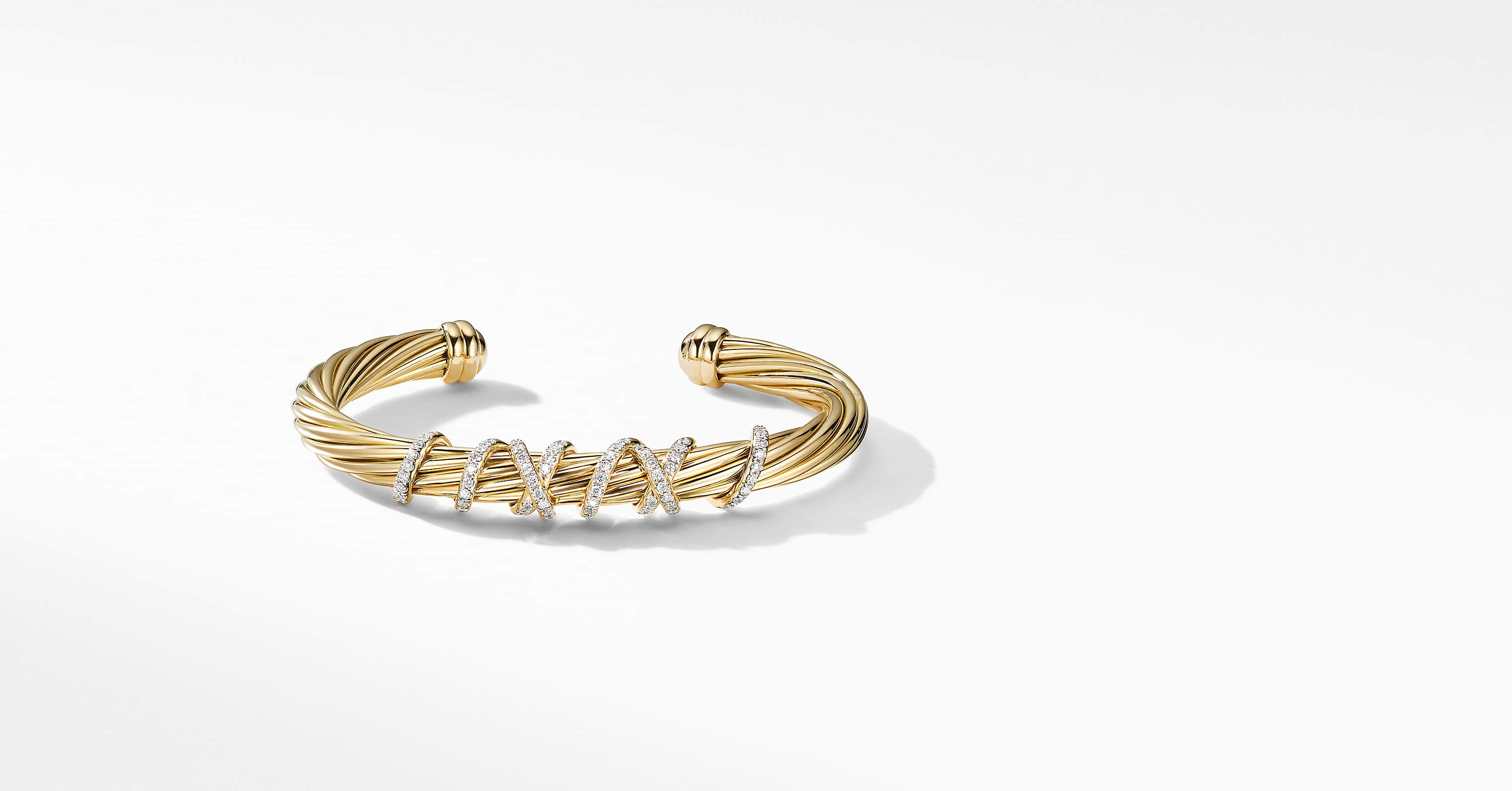 Helena Station Bracelet in 18K Yellow Gold with Diamonds, 6mm