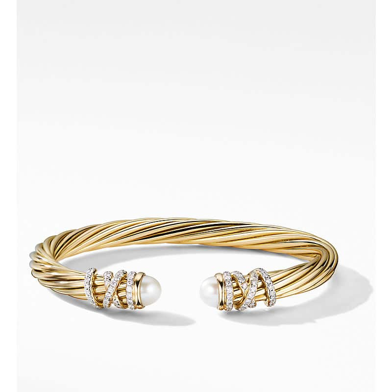 Helena End Station Bracelet in 18K Yellow Gold with Diamonds, 6mm