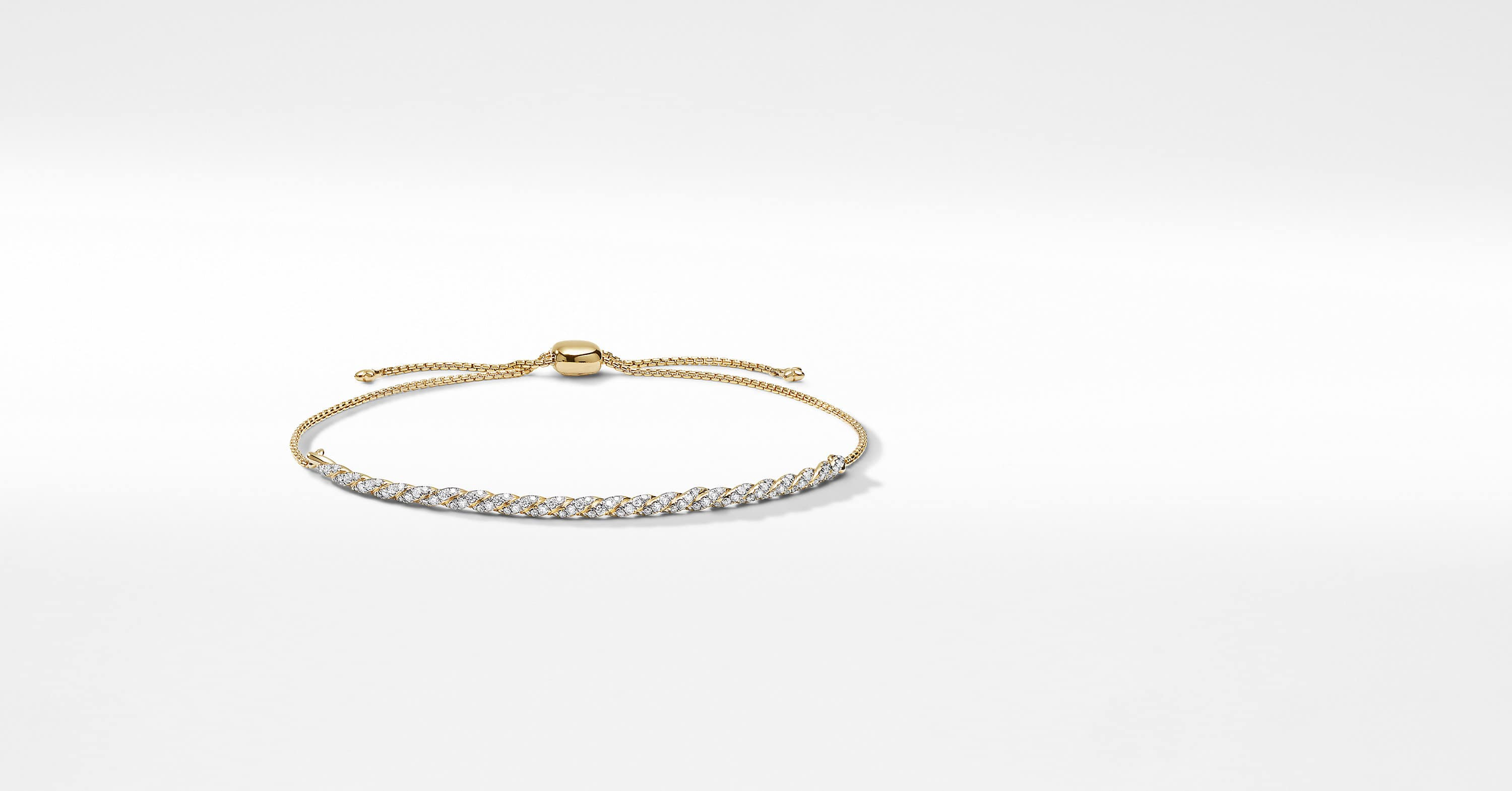 Flexible Slider Bracelet in 18K Yellow Gold with Pavé