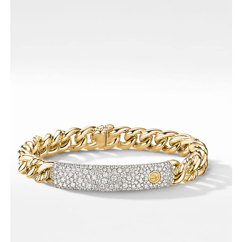 Belmont Curb Link ID Bracelet in 18K Yellow Gold with Pavé