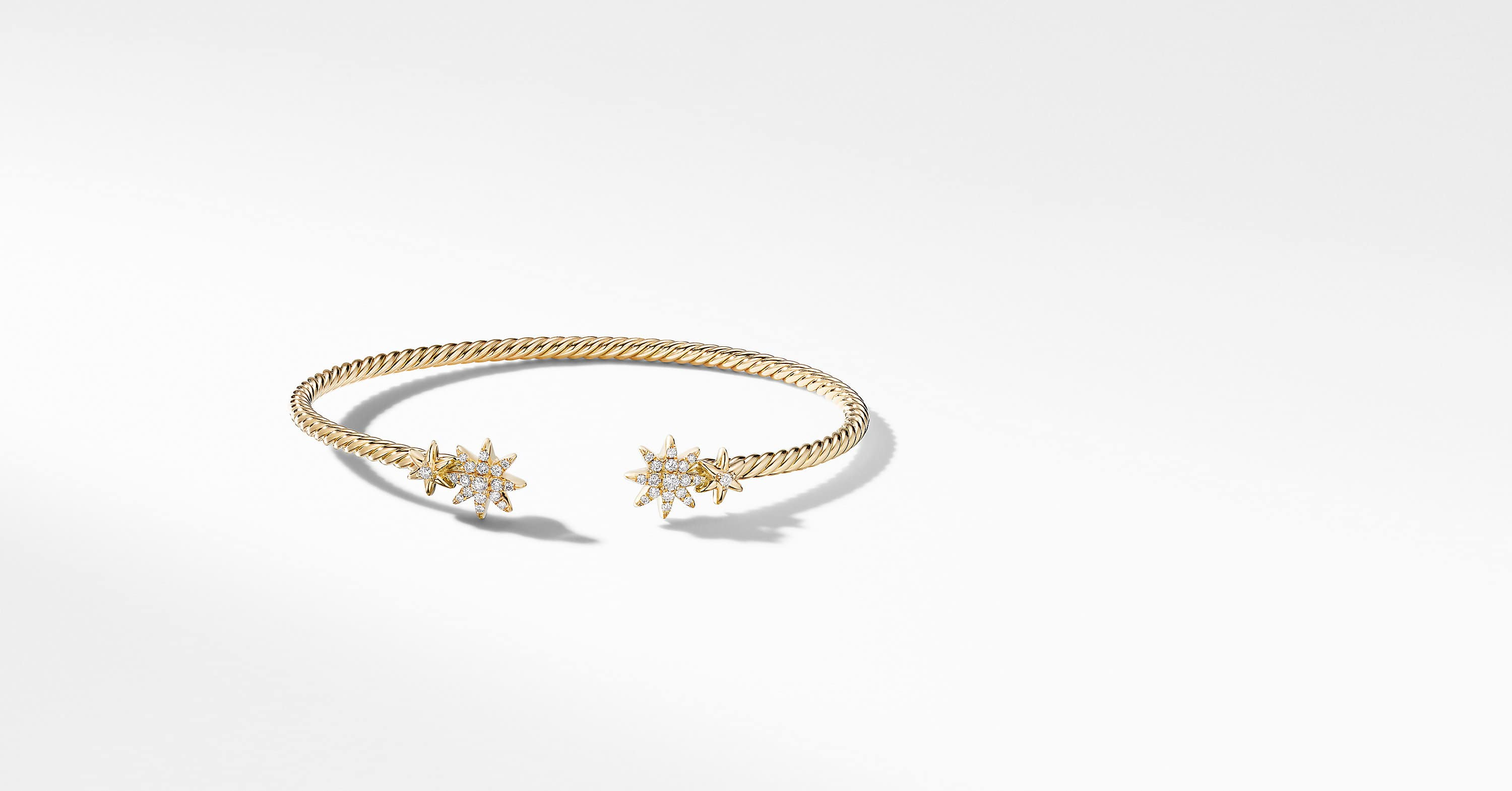 Petite Starburst Open Cable Bracelet in 18K Yellow Gold with Diamonds, 2.6mm