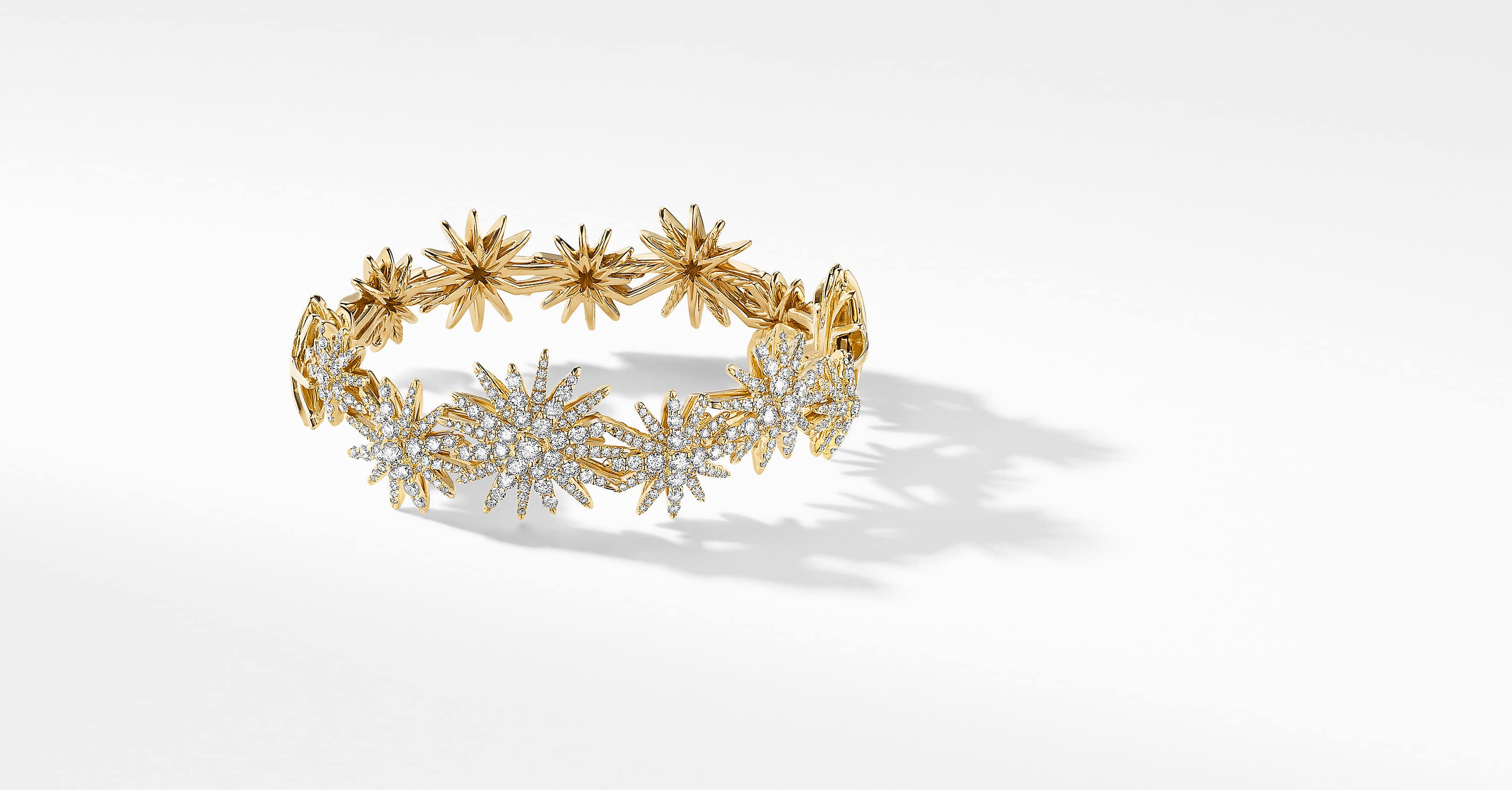 Starburst Statement Bracelet in 18K Yellow Gold with Diamonds