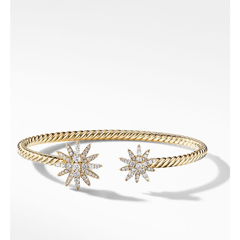 Starburst Open Cable Bracelet in 18K Yellow Gold with Diamonds, 3.5mm