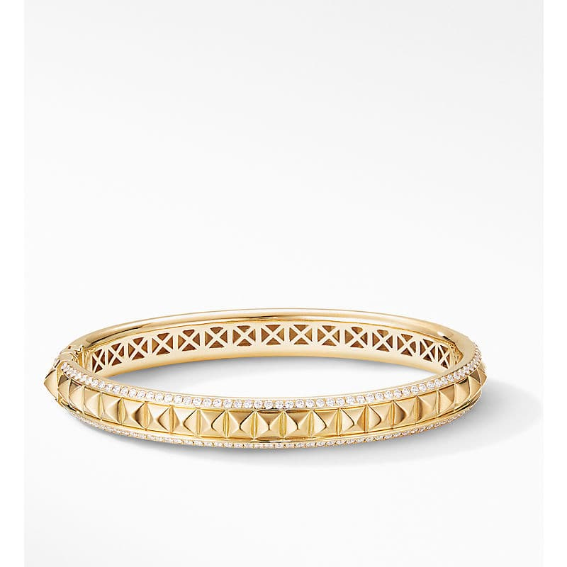 Renaissance Pyramid Bracelet in 18K Yellow Gold with Pavé