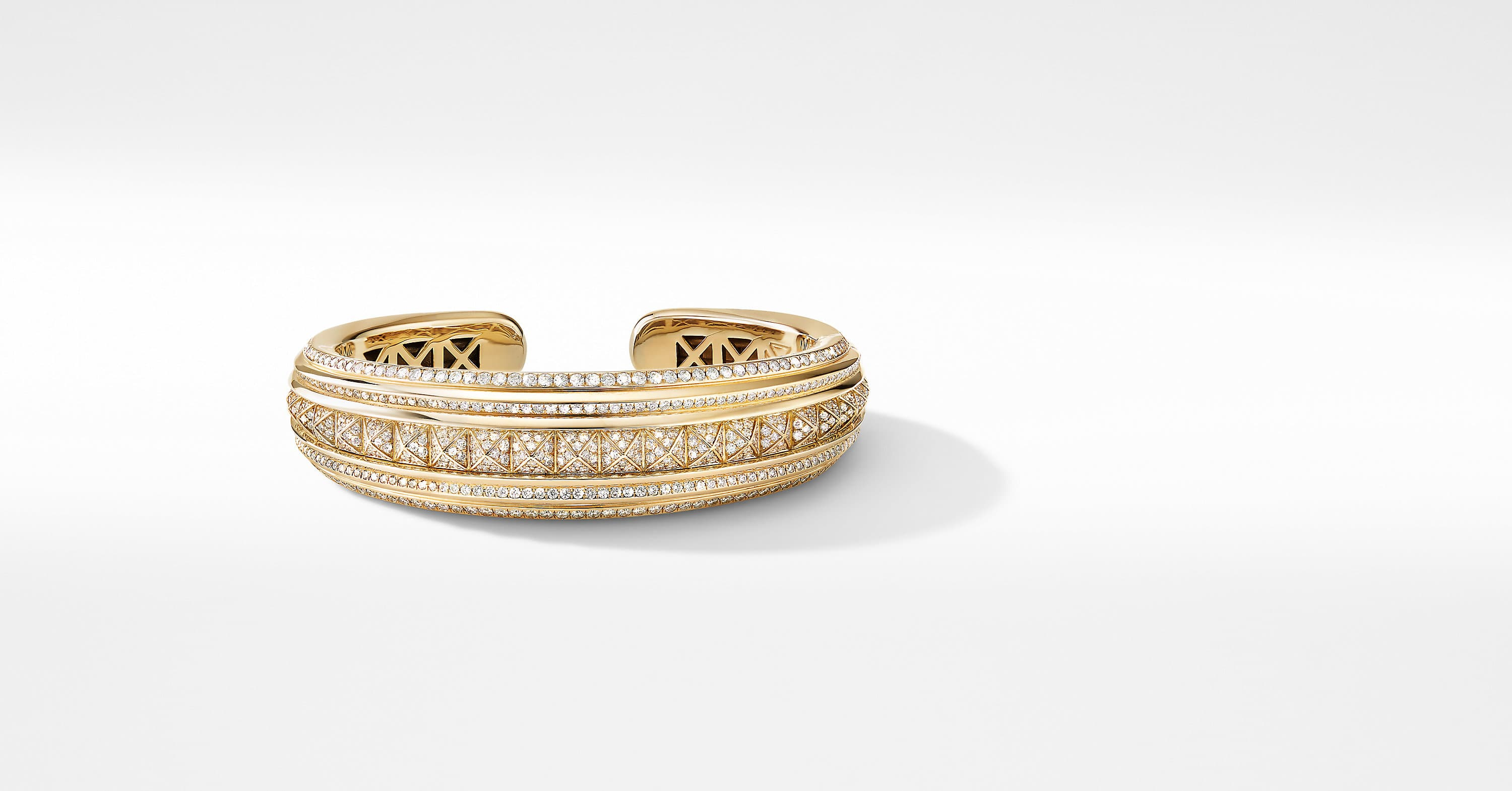 Bold Modern Renaissance Bracelet in 18K Yellow Gold with Full Pavé