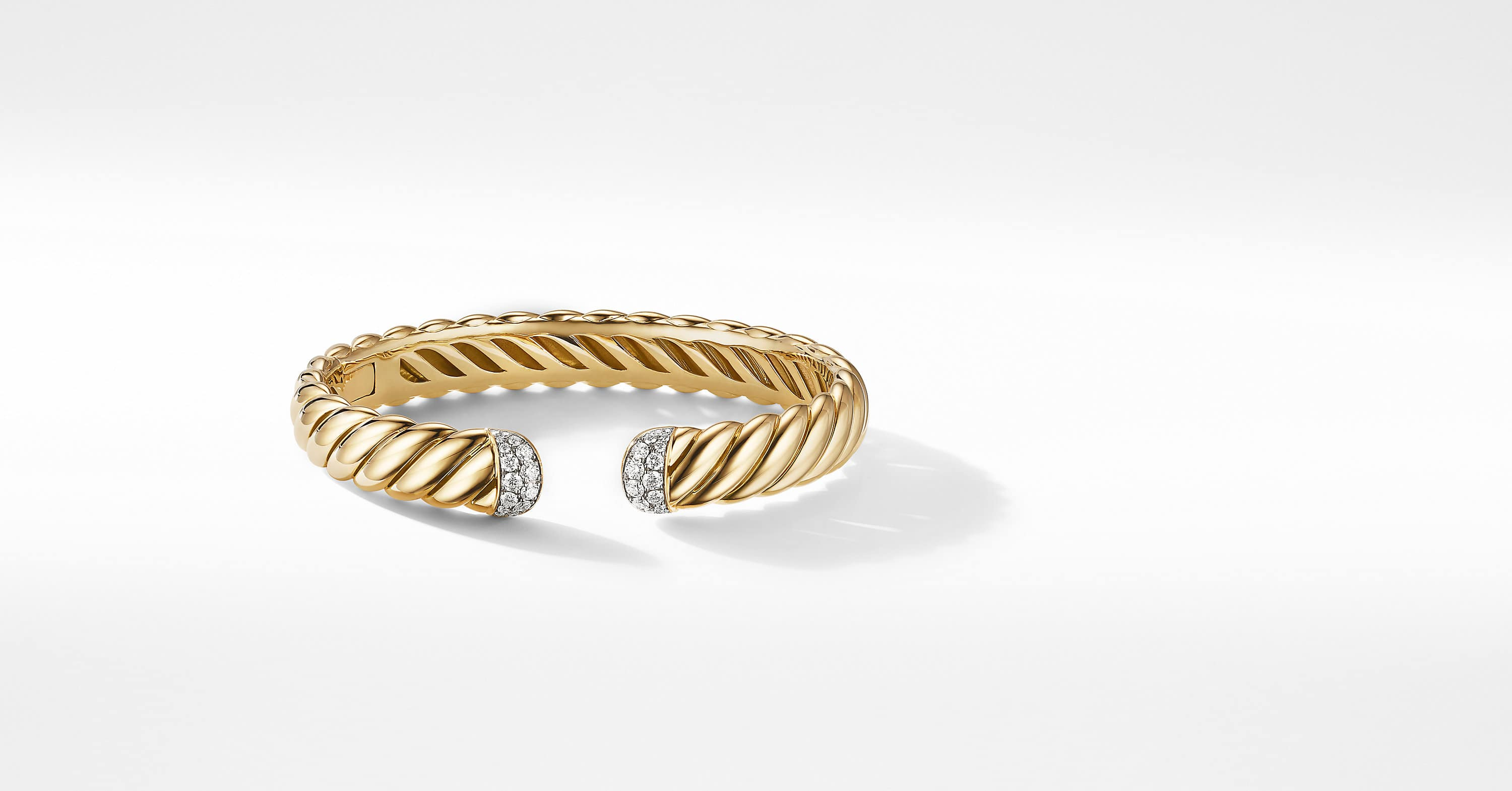 Sculpted Cable Cuff Bracelet in 18K Yellow Gold with Diamonds, 10mm