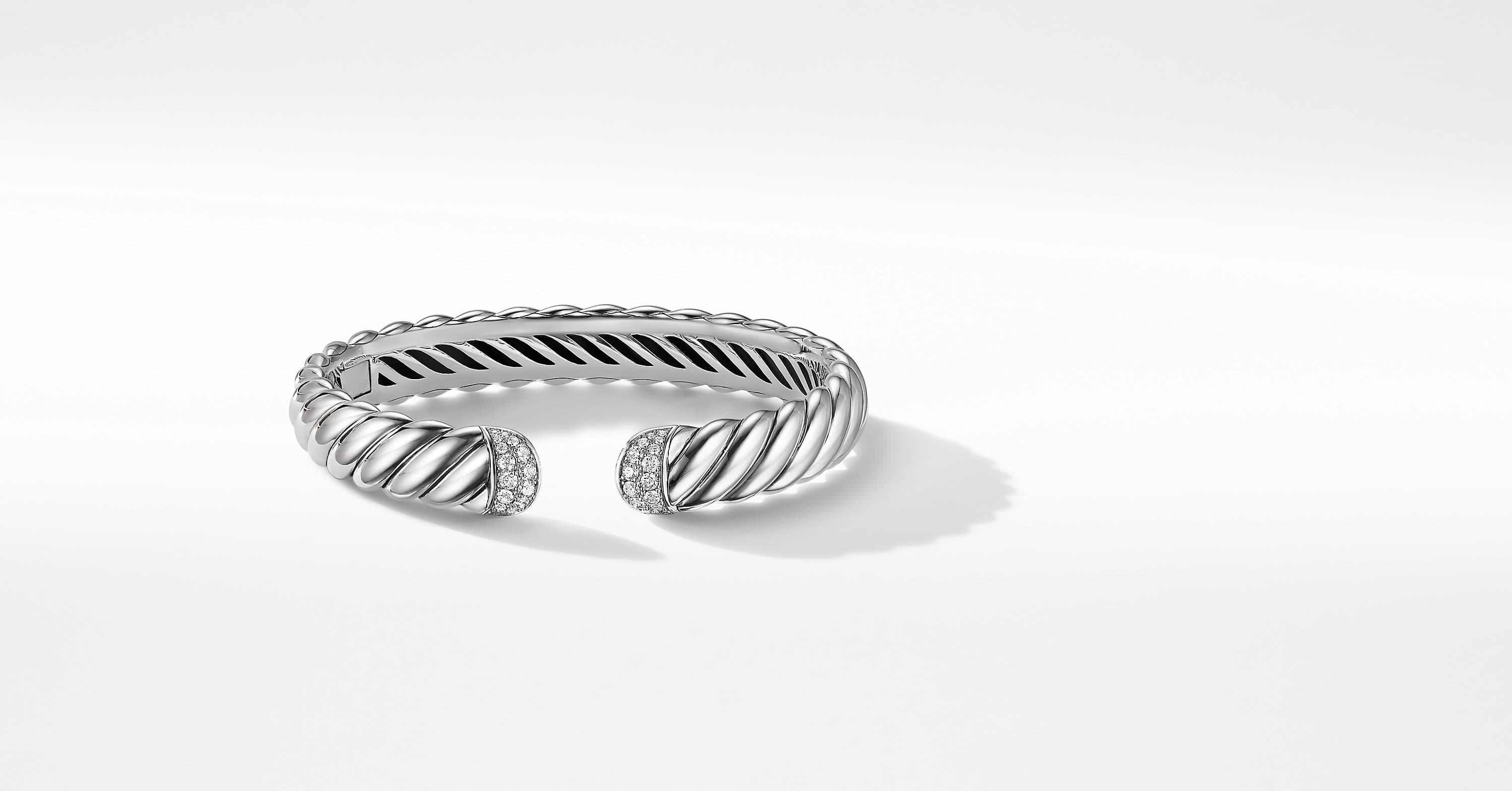 Sculpted Cable Cuff Bracelet with Diamonds, 10mm