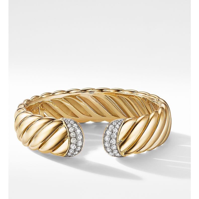 Sculpted Cable Cuff Bracelet in 18K Yellow Gold with Diamonds, 17mm