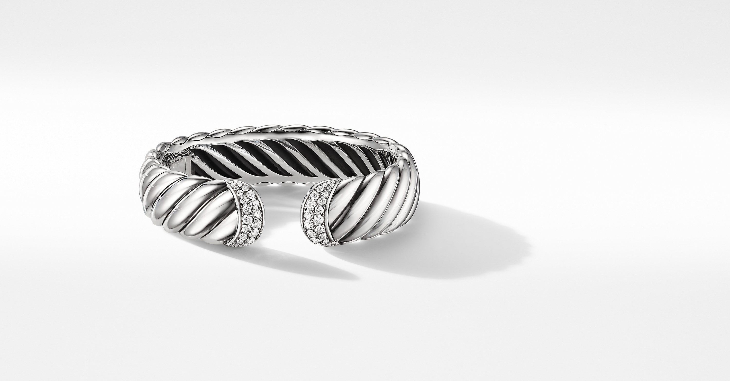 Sculpted Cable Cuff Bracelet with Diamonds, 17mm