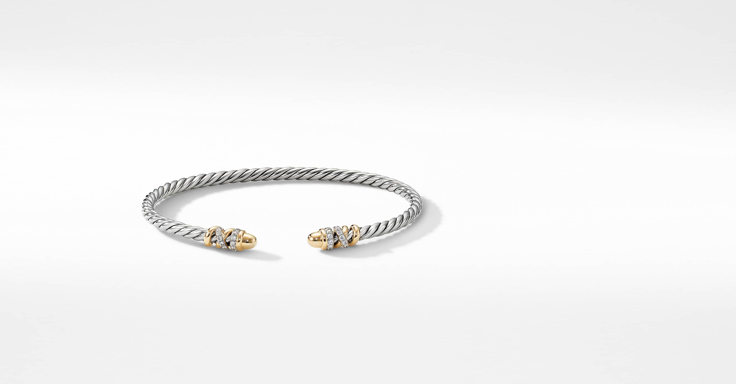 Petite Helena Open Bracelet with 18K Yellow Gold with Diamonds