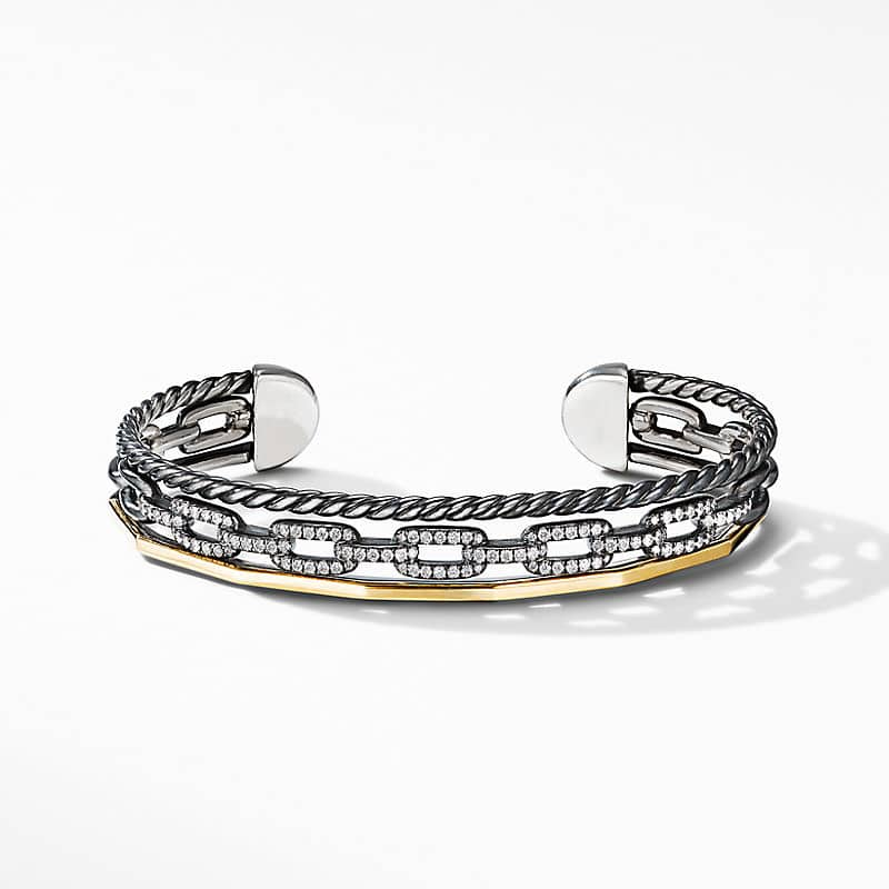 Stax Three-Row Cuff Bracelet in Blackened Silver with