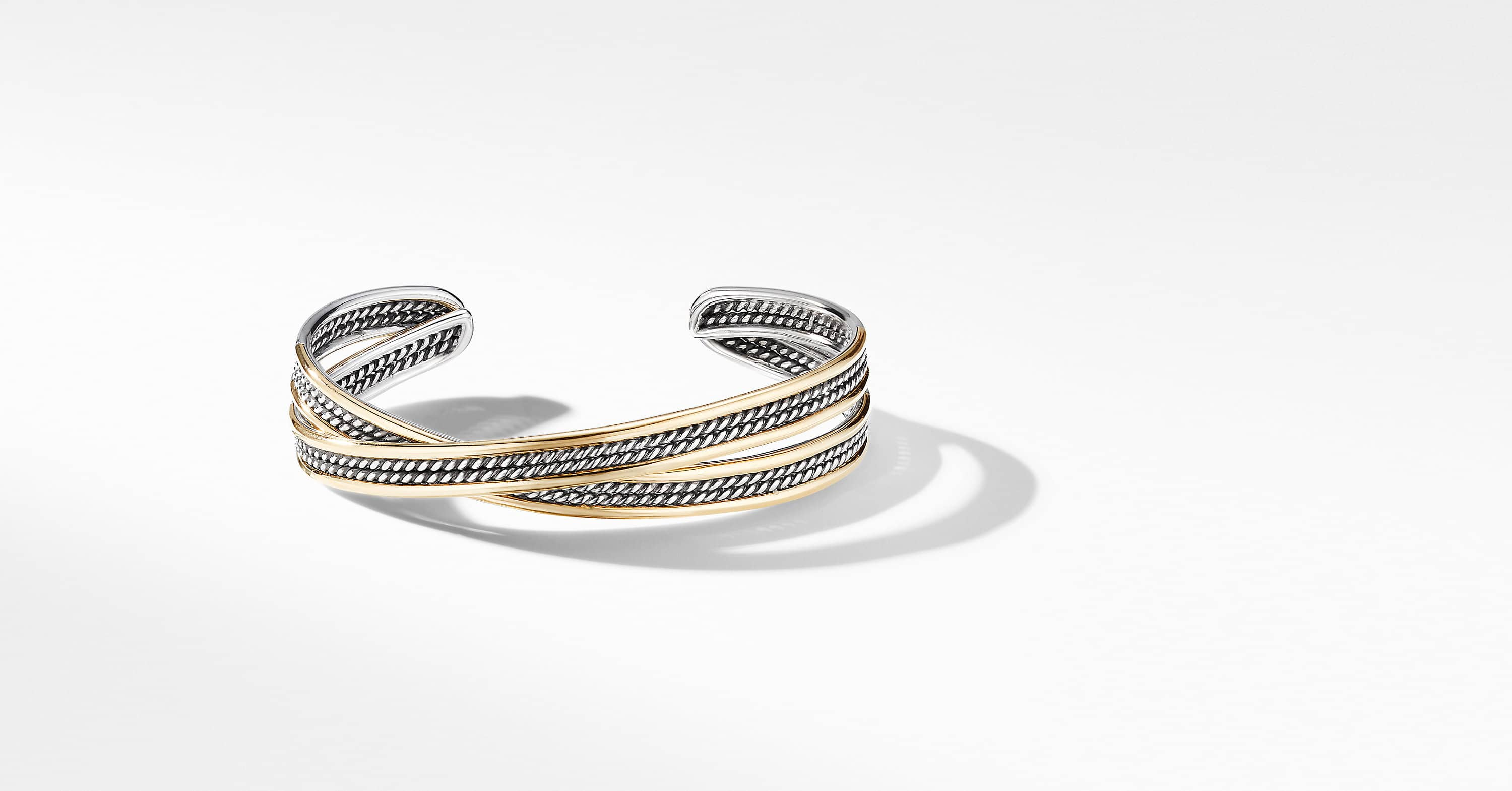 DY Origami Cuff Bracelet with 18K Yellow Gold, 14mm