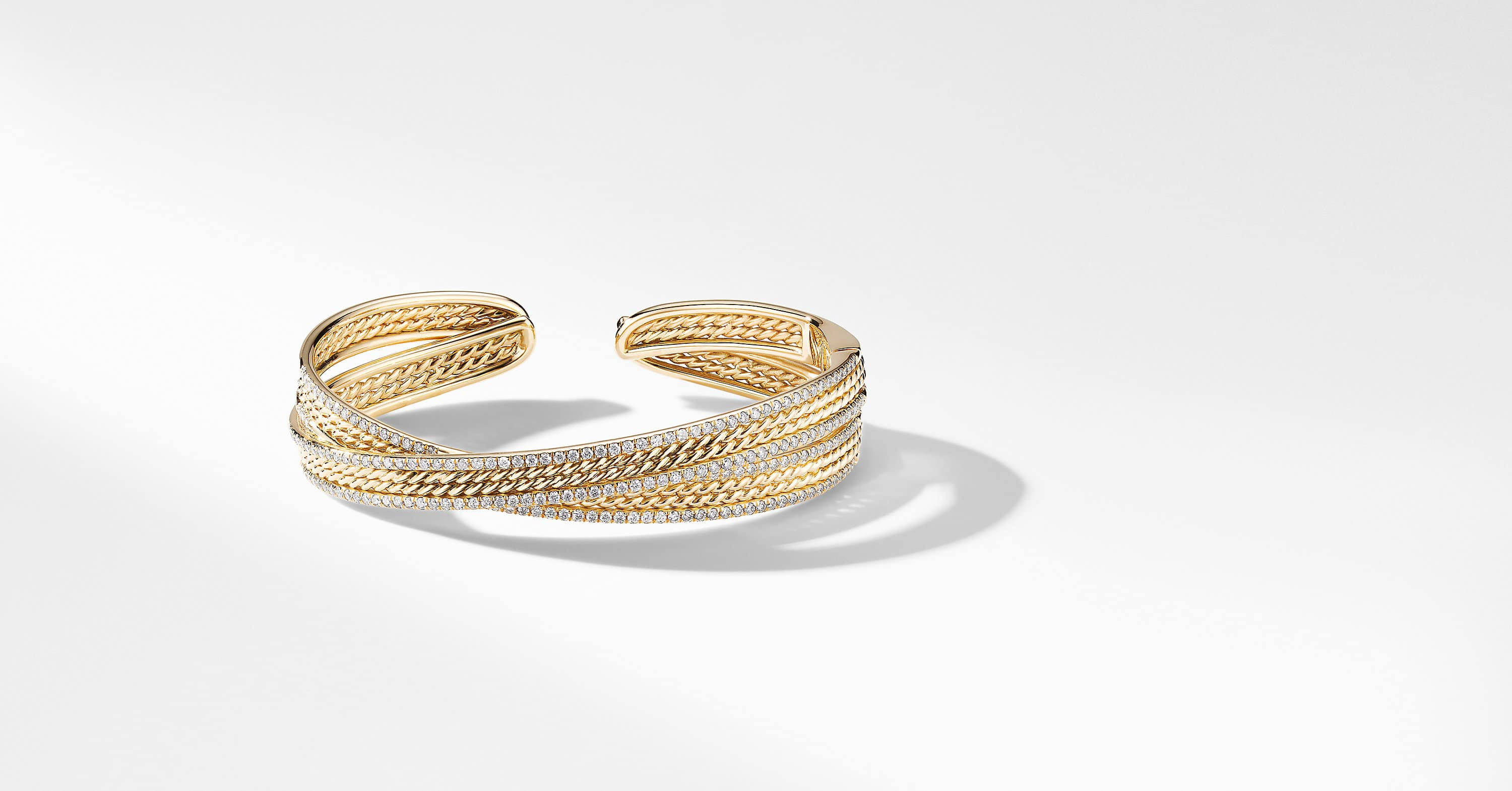 DY Origami Cuff Bracelet in 18K Yellow Gold with Pavé Rails, 14mm