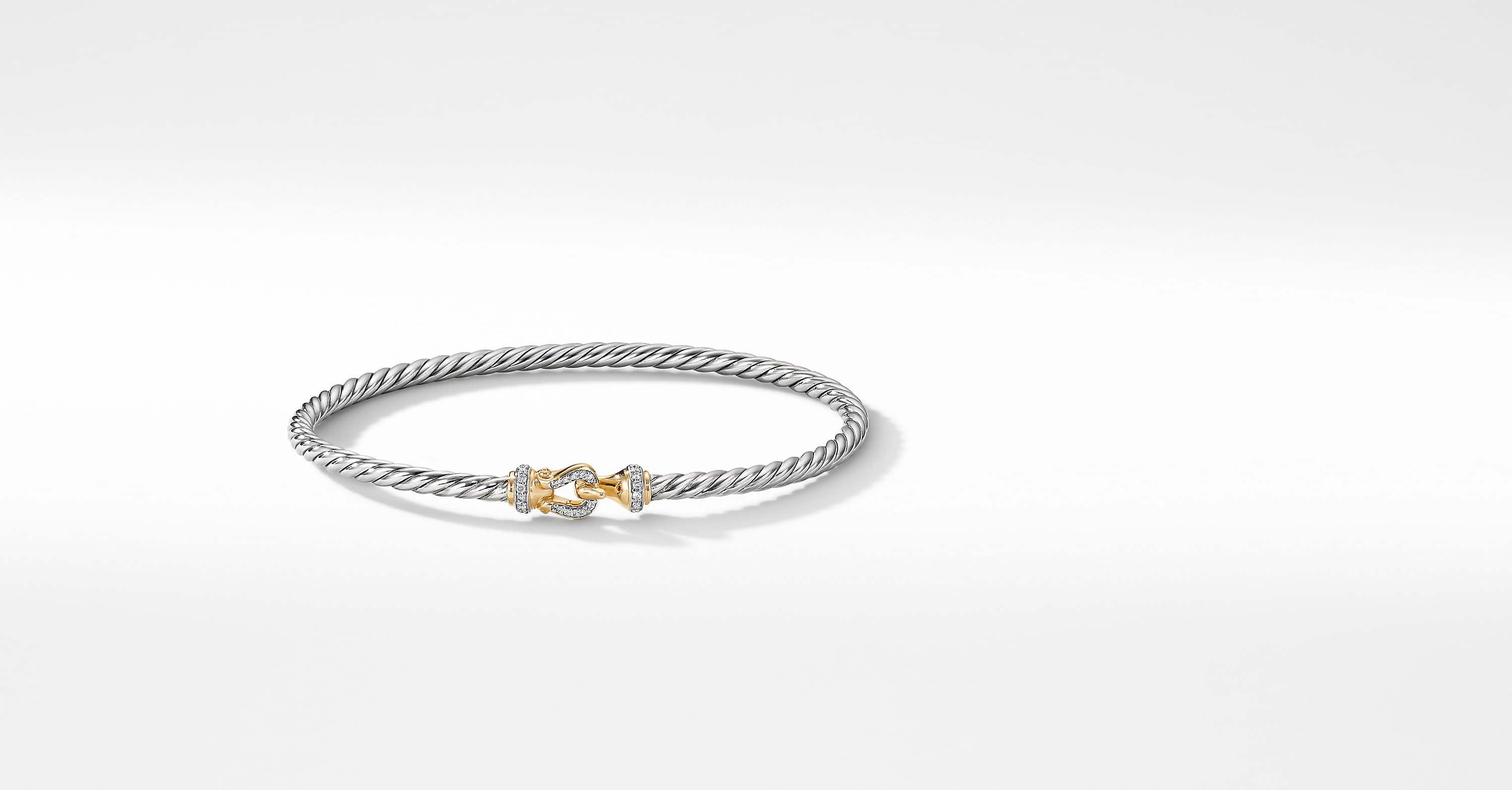 Cable Buckle Collection Bracelet with 18K Yellow Gold and Diamonds, 3mm
