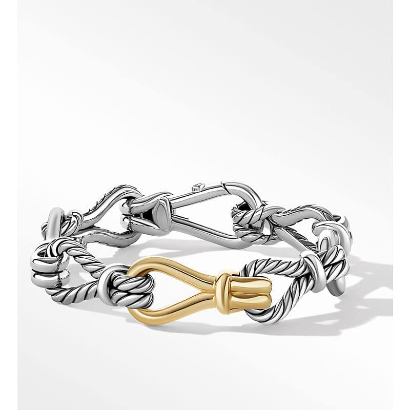 Thoroughbred Loop Chain Bracelet with 18K Yellow Gold, 14mm