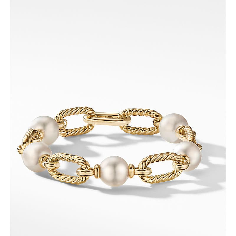 DY Madison Pearl Chain Bracelet in 18K Yellow Gold