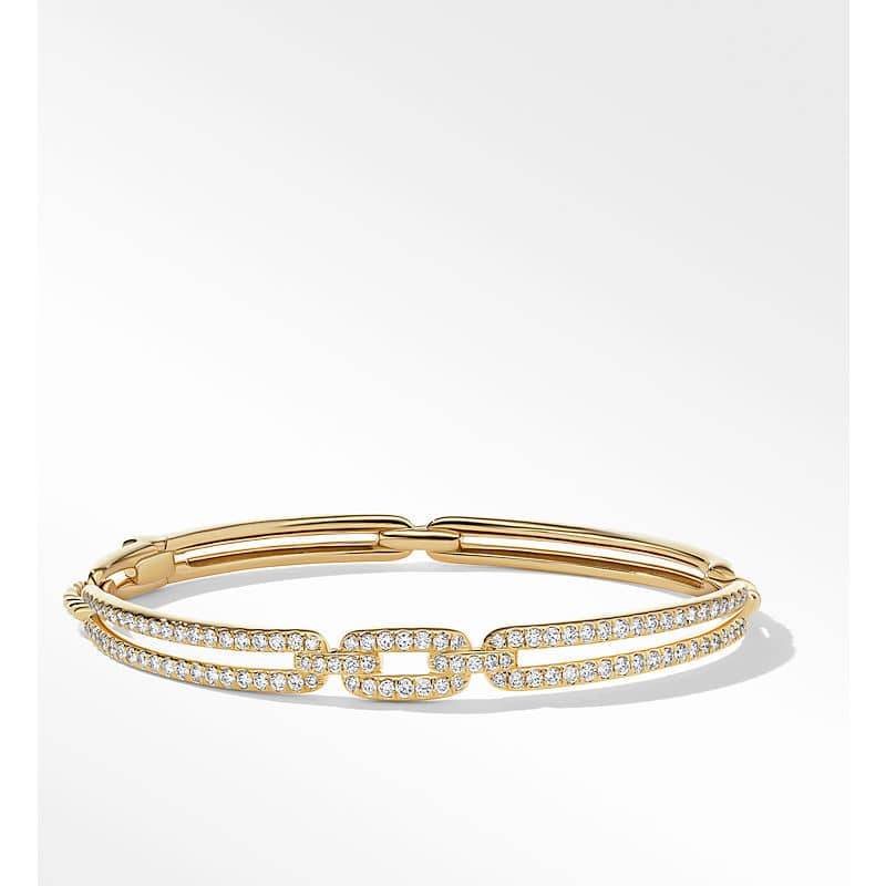 Stax Linked Bracelet in 18K Yellow Gold with Diamonds, 7mm