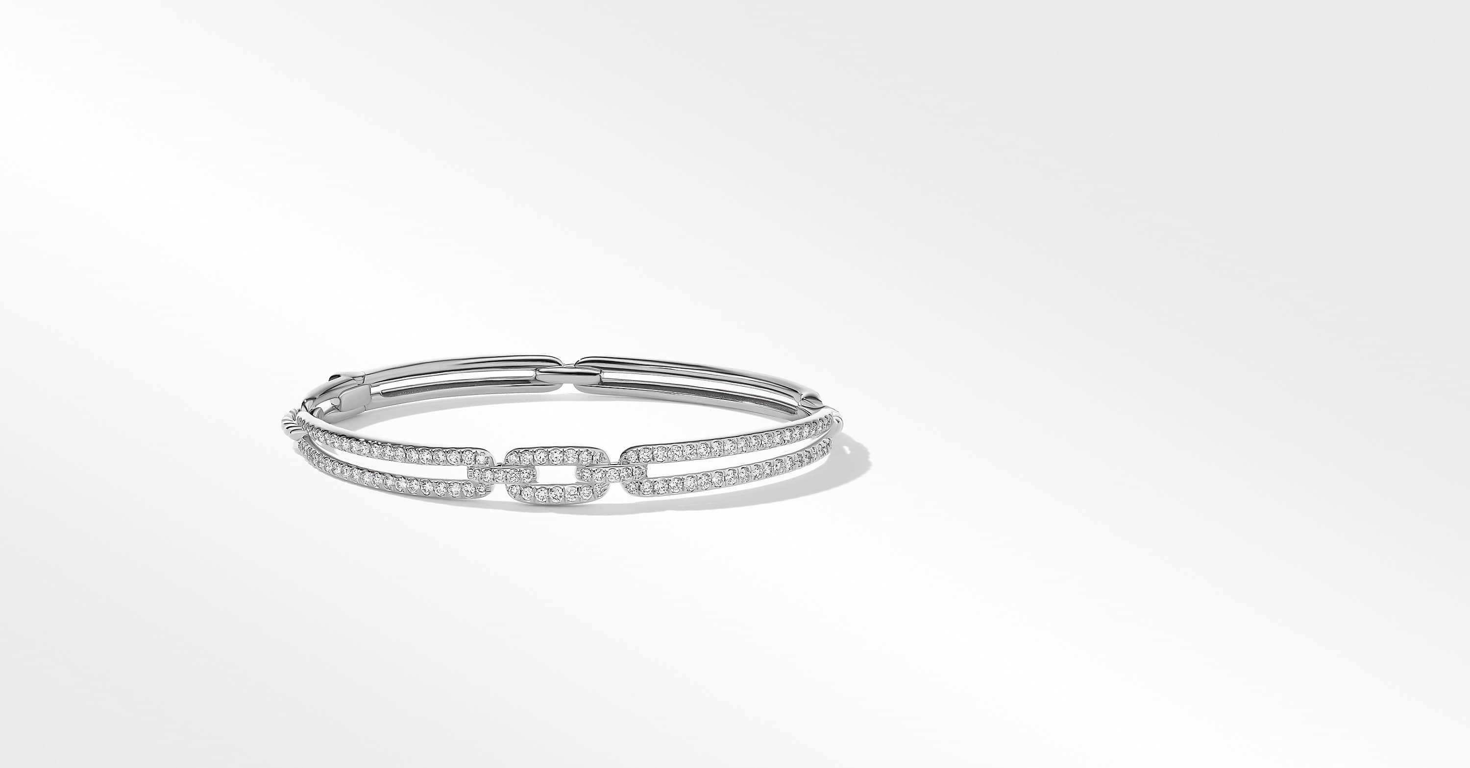 Stax Linked Bracelet in 18K White Gold with Diamonds, 7mm