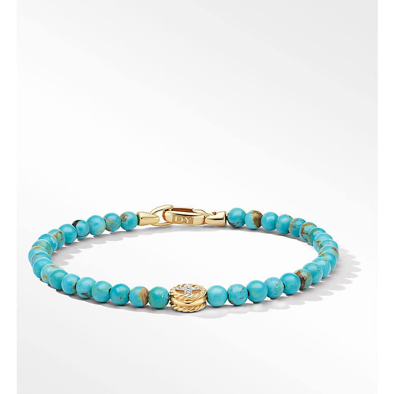 Spiritual Beads Peace Sign Bracelet with 14K Yellow Gold and Diamonds, 4mm