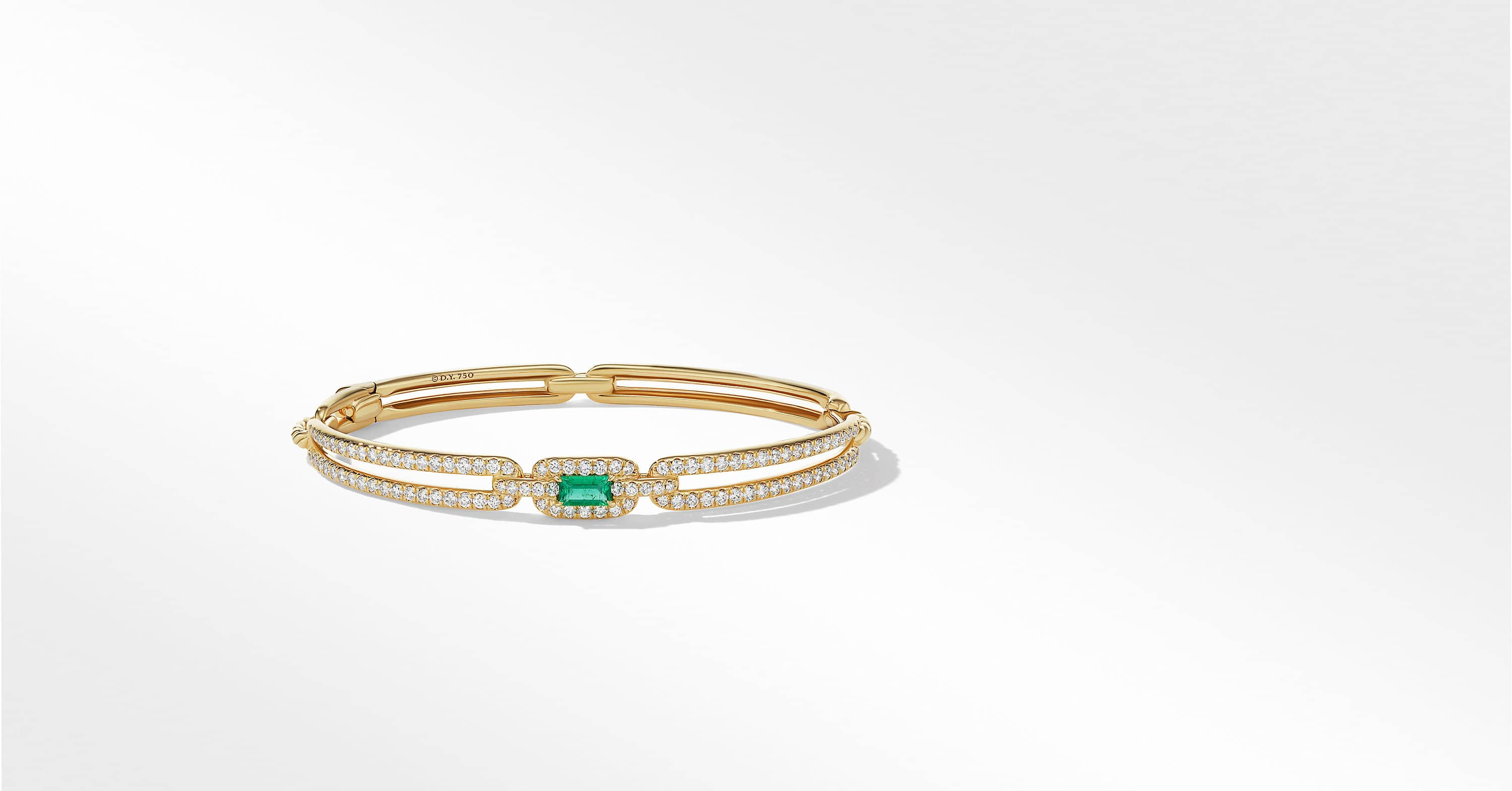 Stax Single Link Bracelet in 18K Yellow Gold with Diamonds, 7mm