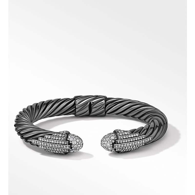 Empire Cable Bracelet in Blackened Silver with Pavé, 9mm