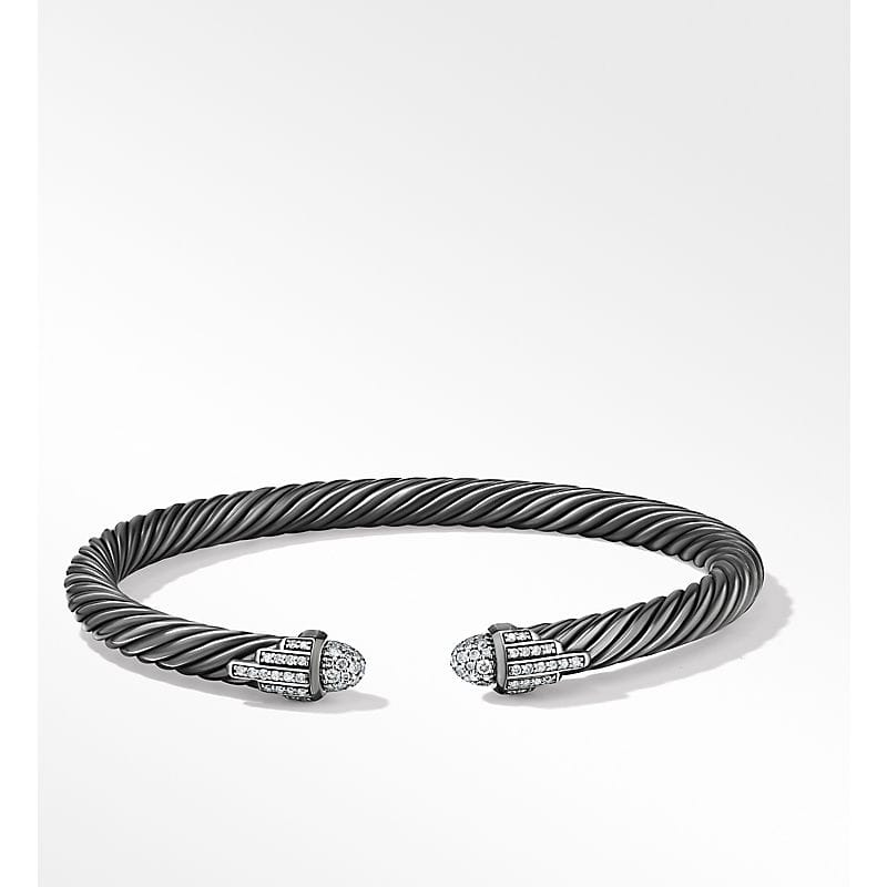 Empire Cable Bracelet in Blackened Silver with Diamonds, 5mm