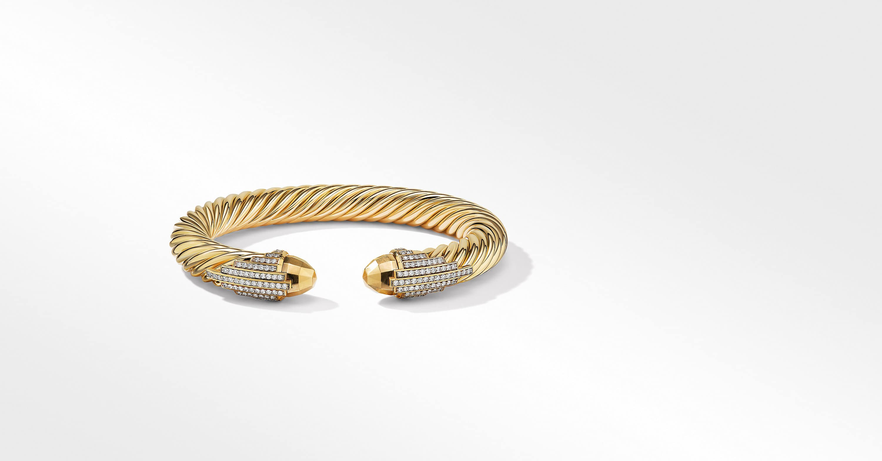 Empire Cable Bracelet in 18K Yellow Gold with Diamonds, 9mm